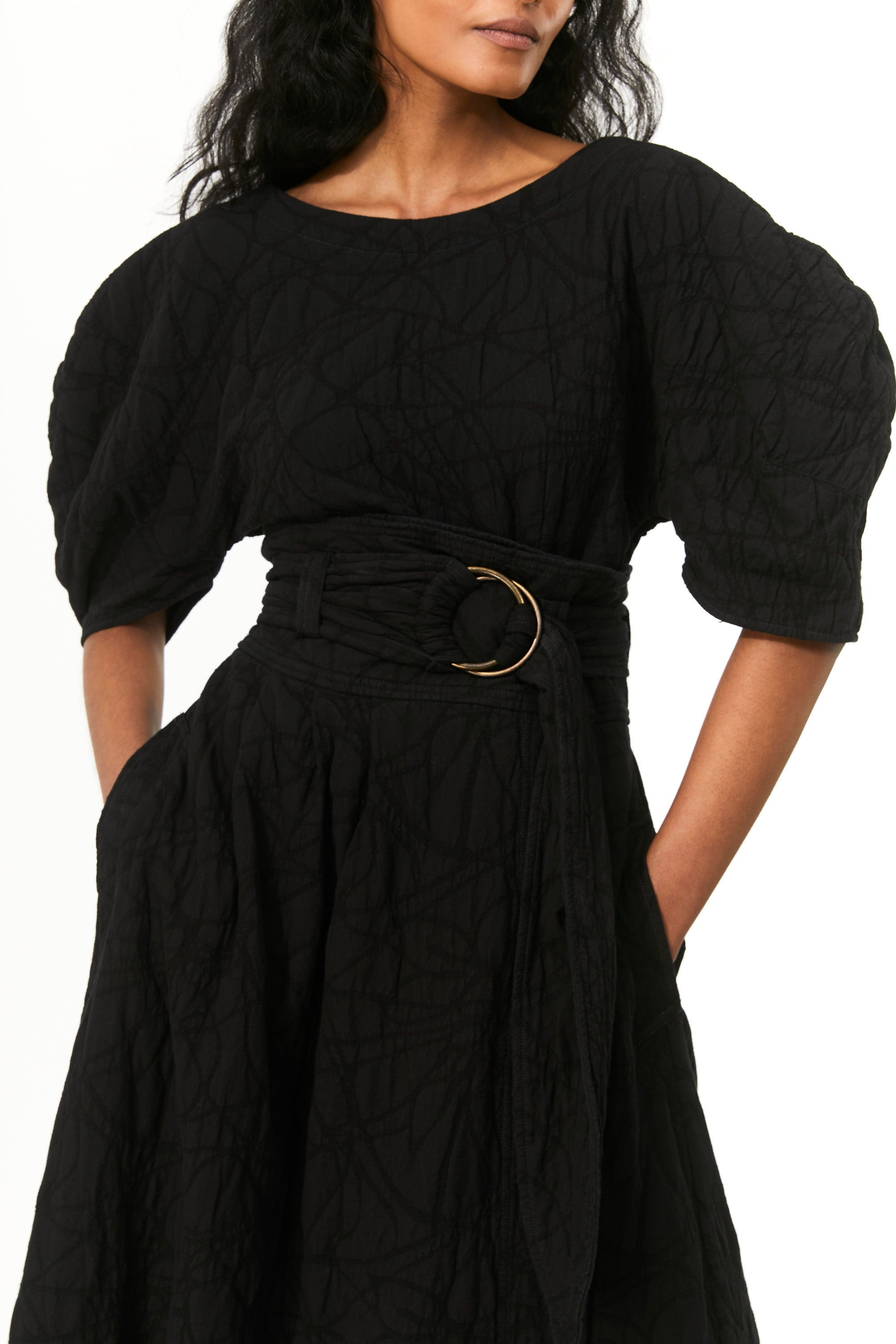 Mara Hoffman Black Esperanza Skirt in overdye organic cotton and linen (belt detail)