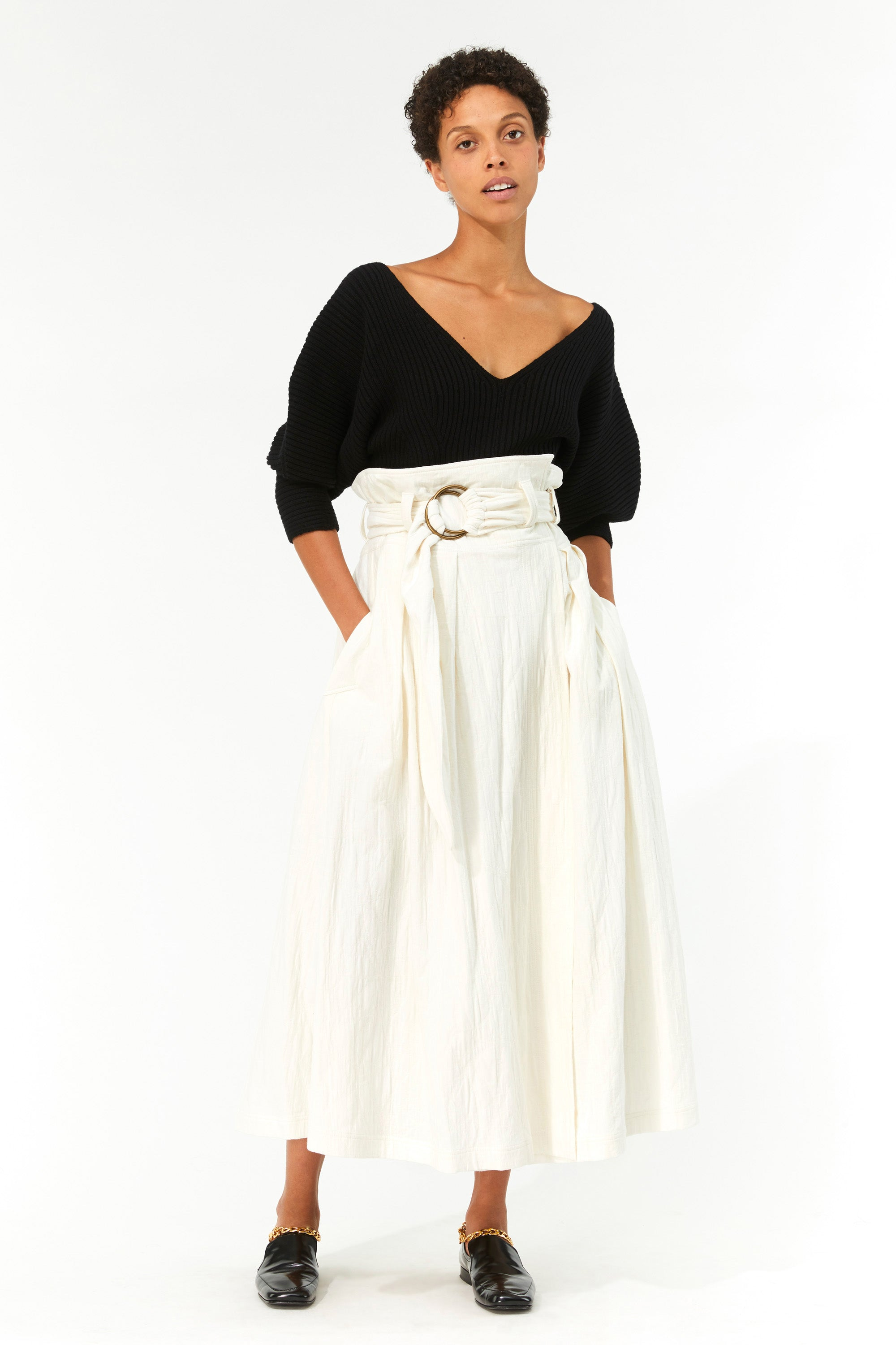 Mara Hoffman Ivory Esperanza Skirt in organic cotton and linen (front)