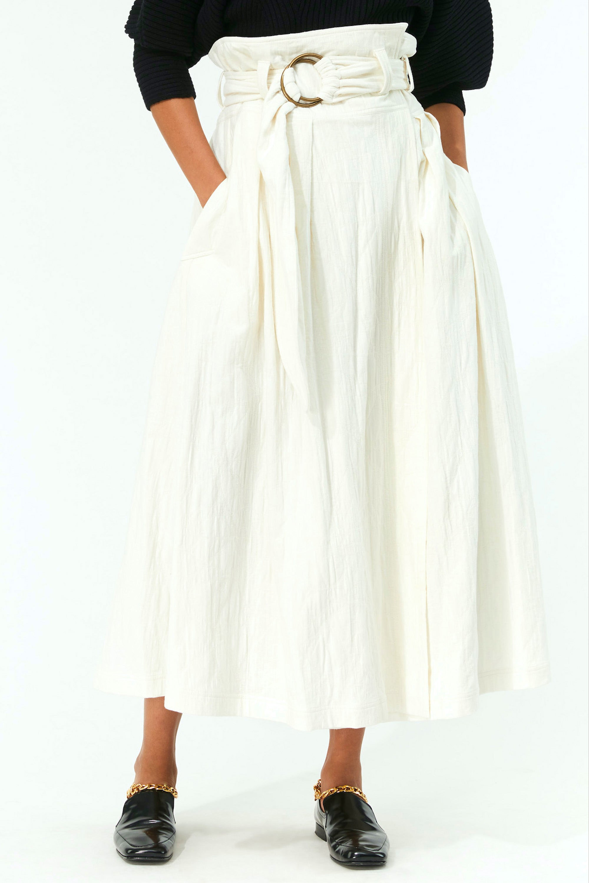 Mara Hoffman Ivory Esperanza Skirt in organic cotton and linen (detail)