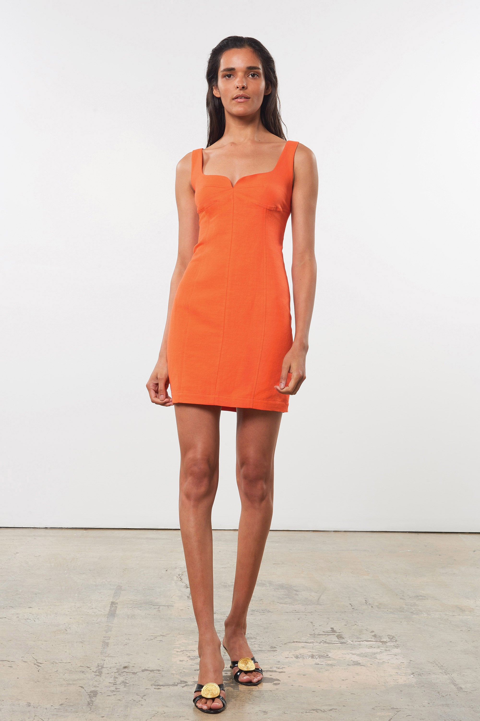Mara Hoffman Orange Anita Dress in organic cotton and linen (front)