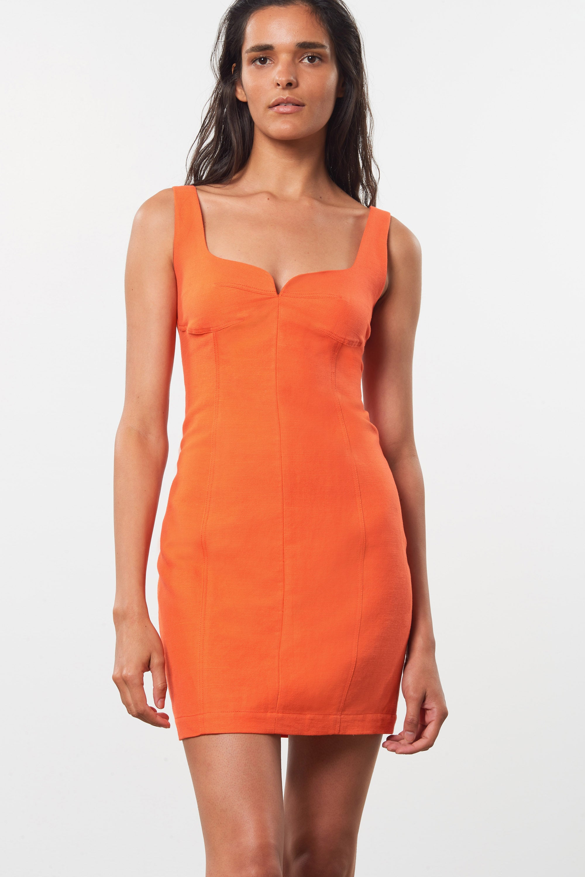 Mara Hoffman Orange Anita Dress in organic cotton and linen (front detail)