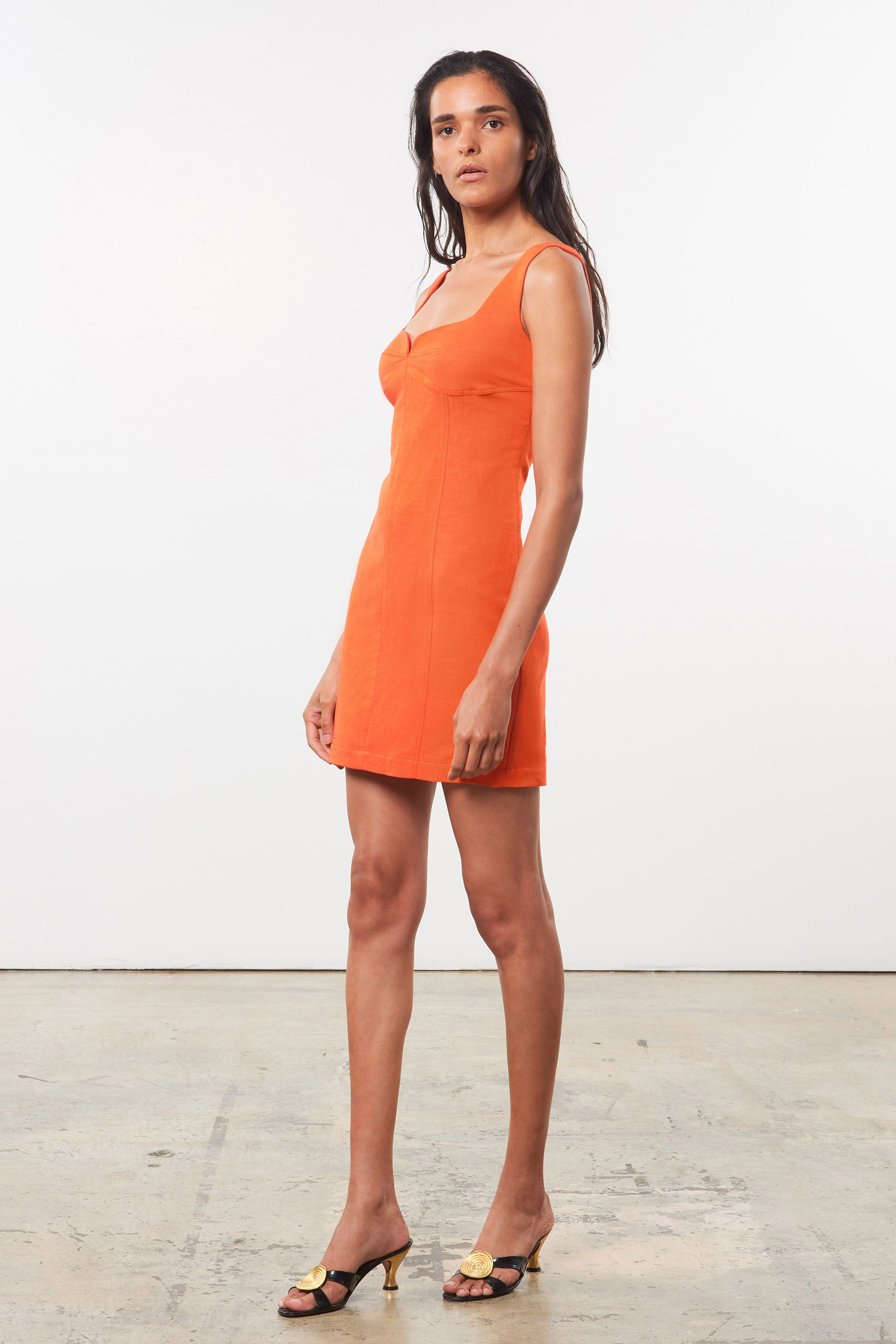 Mara Hoffman Orange Anita Dress in organic cotton and linen (side)