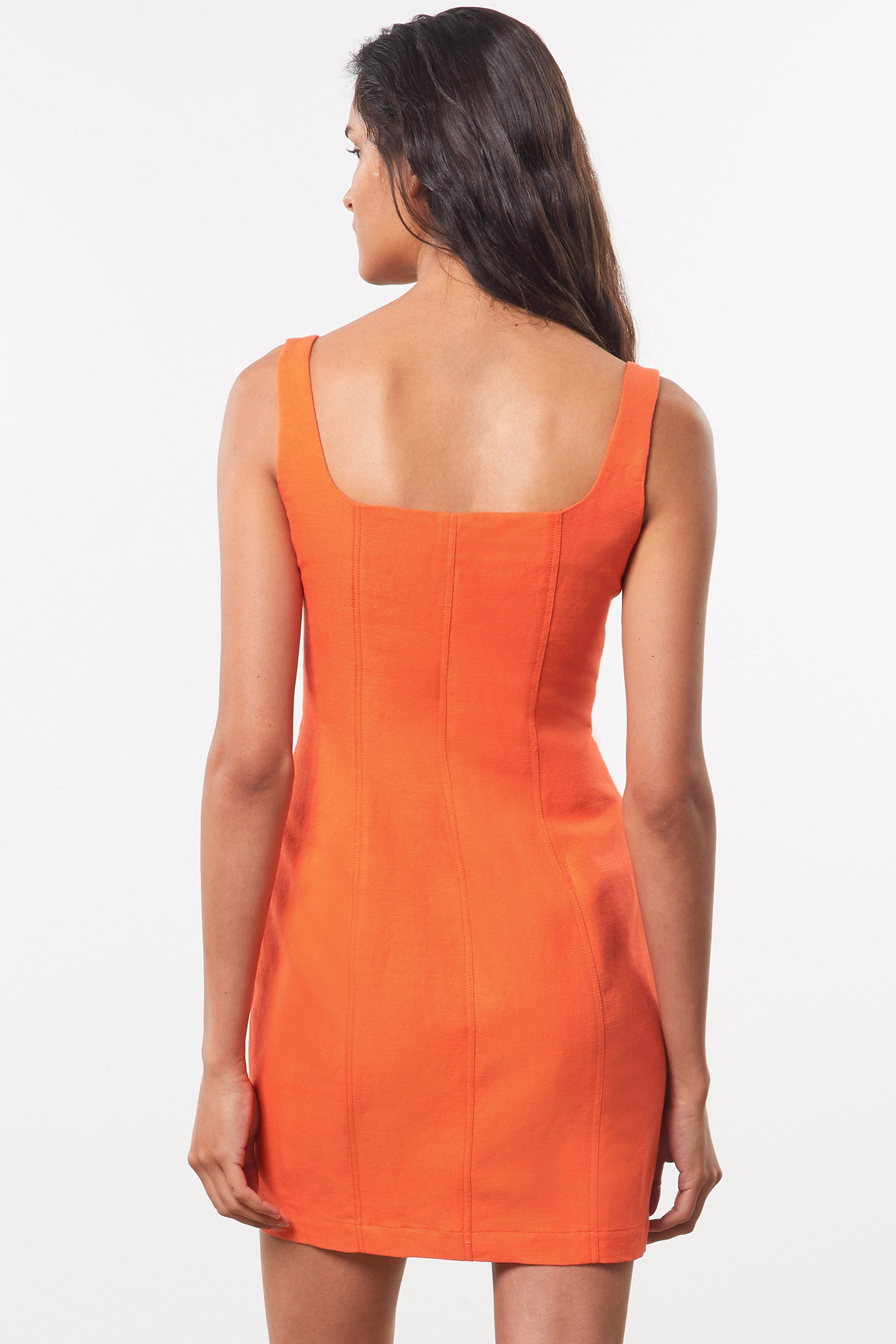 Mara Hoffman Orange Anita Dress in organic cotton and linen (back detail)