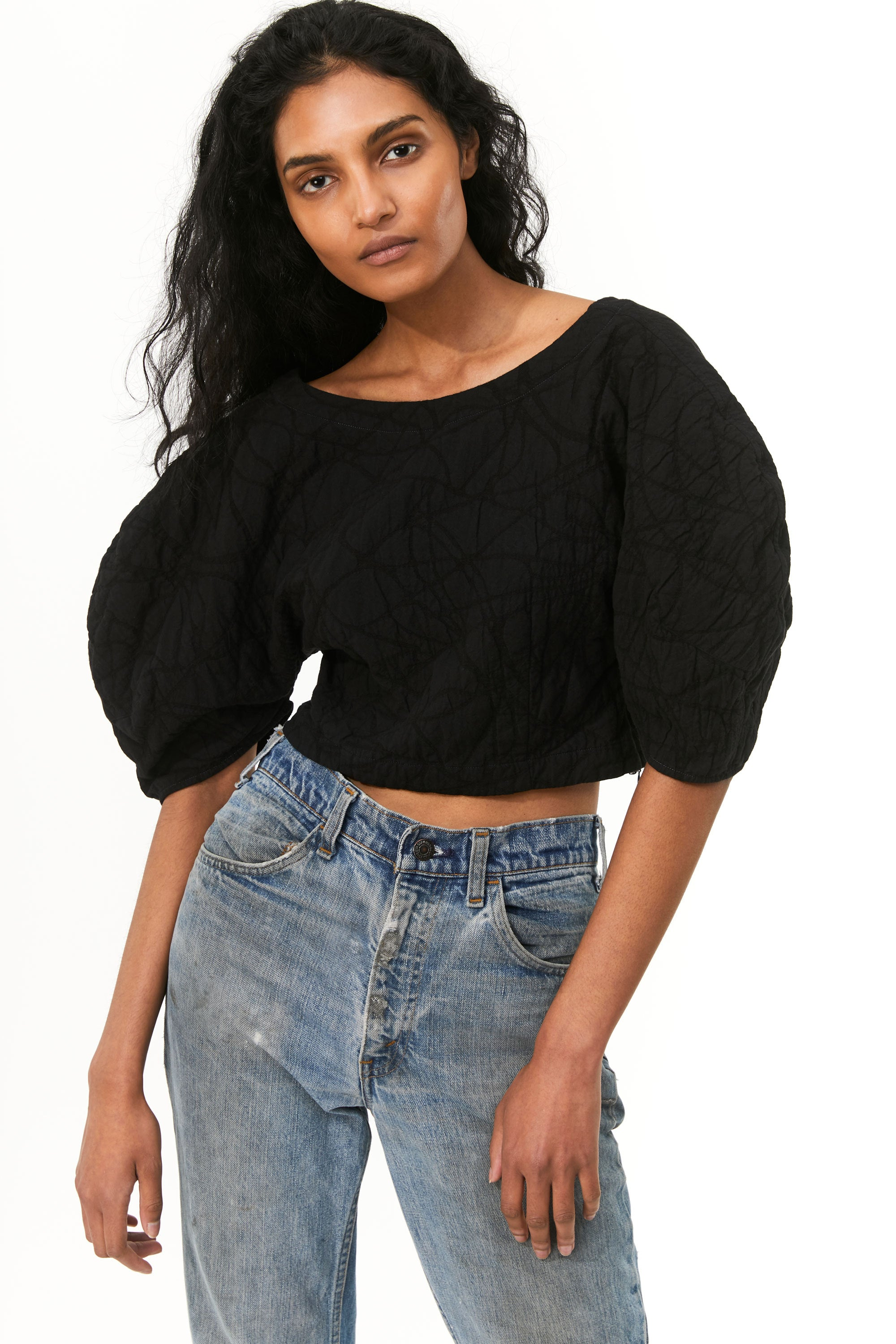 Mara Hoffman Black Overdyed Peni Top in organic cotton and linen (paired with jeans)