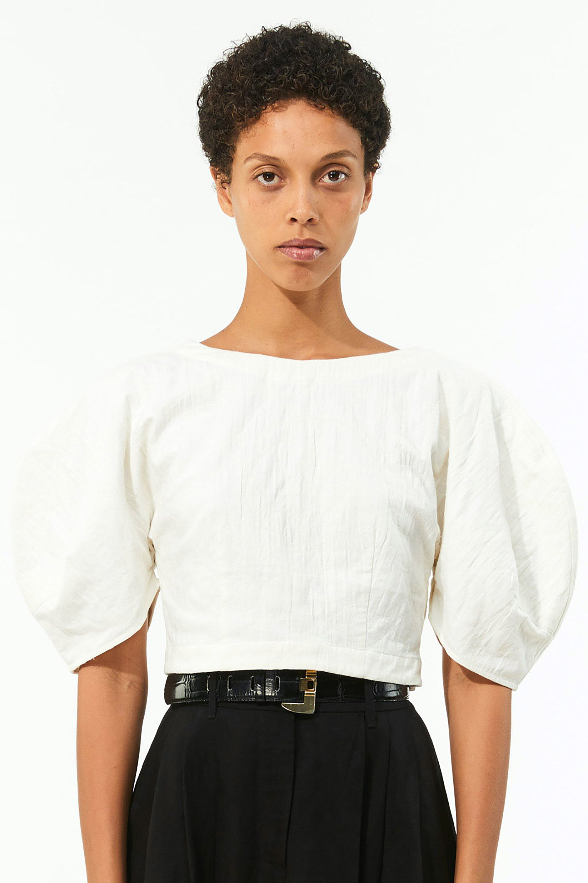 Mara Hoffman Ivory Peni Top in organic cotton and linen (front detail)