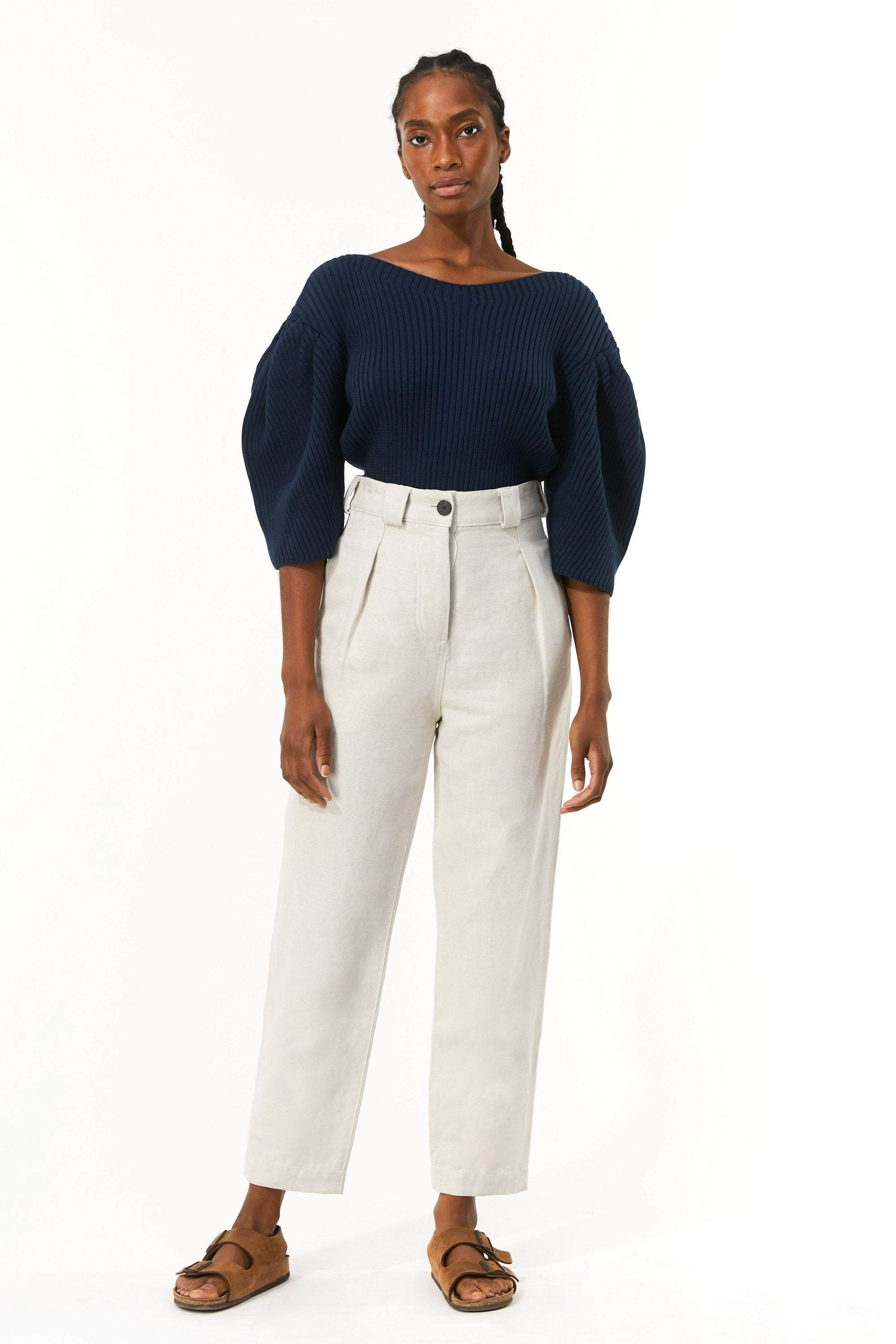 Mara Hoffman Beige Jade Pant in linen and organic cotton (front)