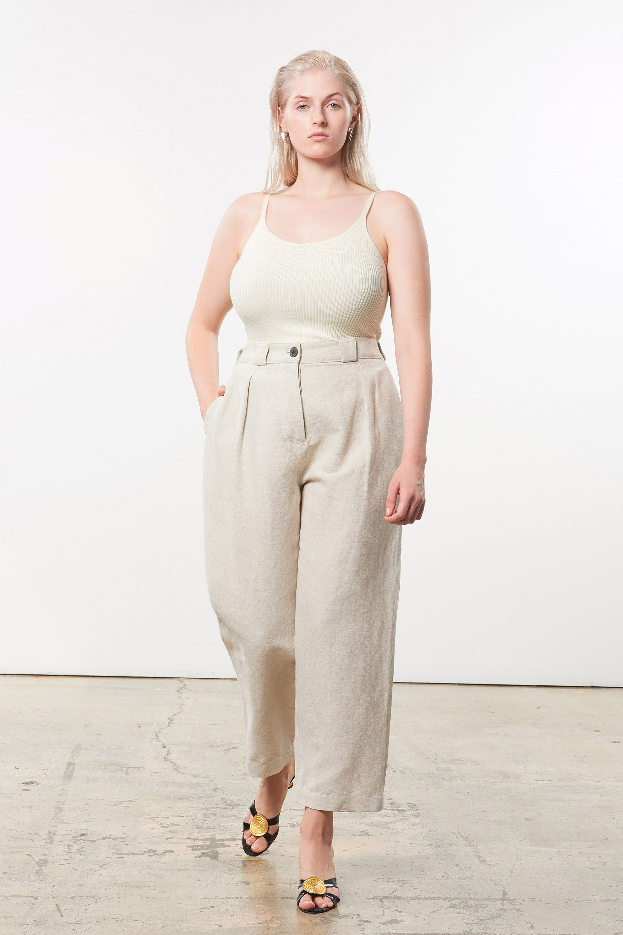 Mara Hoffman Extended Beige Jade Pant in linen and organic cotton (front)