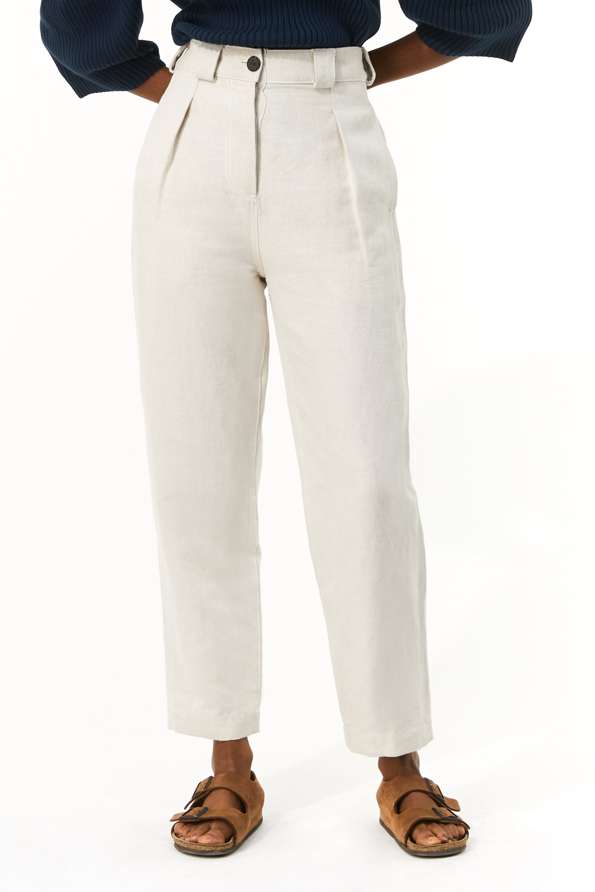 Mara Hoffman Beige Jade Pant in linen and organic cotton (front detail)