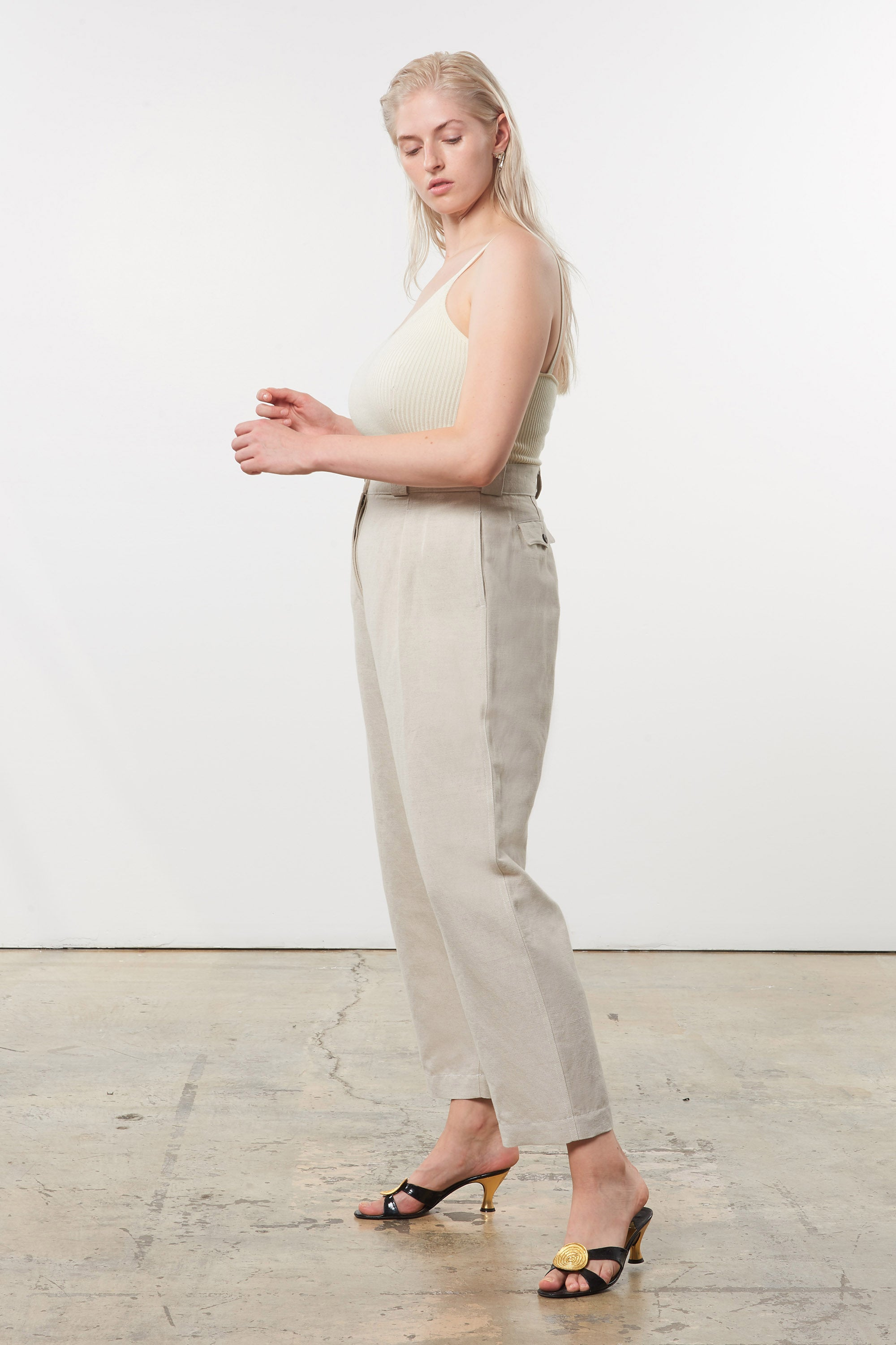 Mara Hoffman Extended Beige Jade Pant in linen and organic cotton (side)