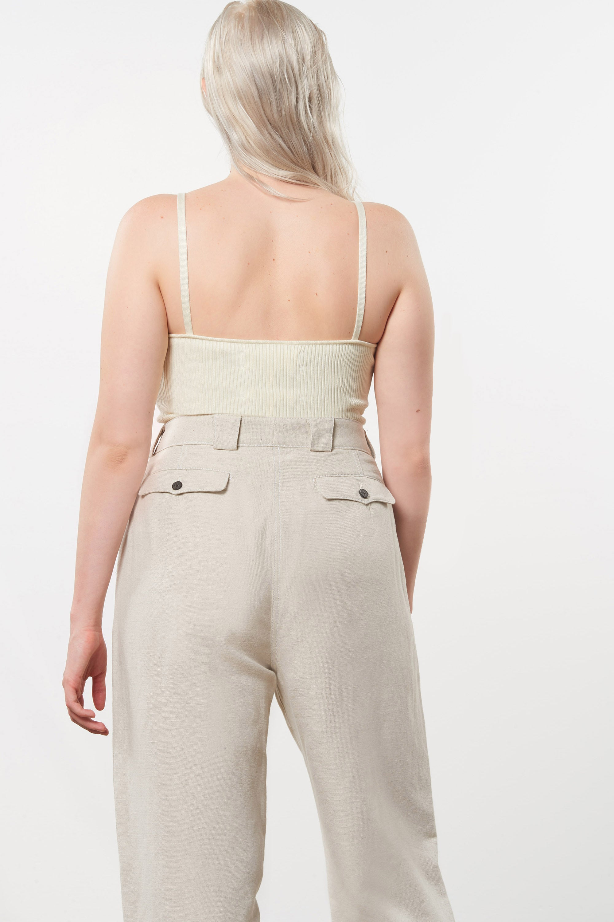 Mara Hoffman Extended Beige Jade Pant in linen and organic cotton (back pocket detail)
