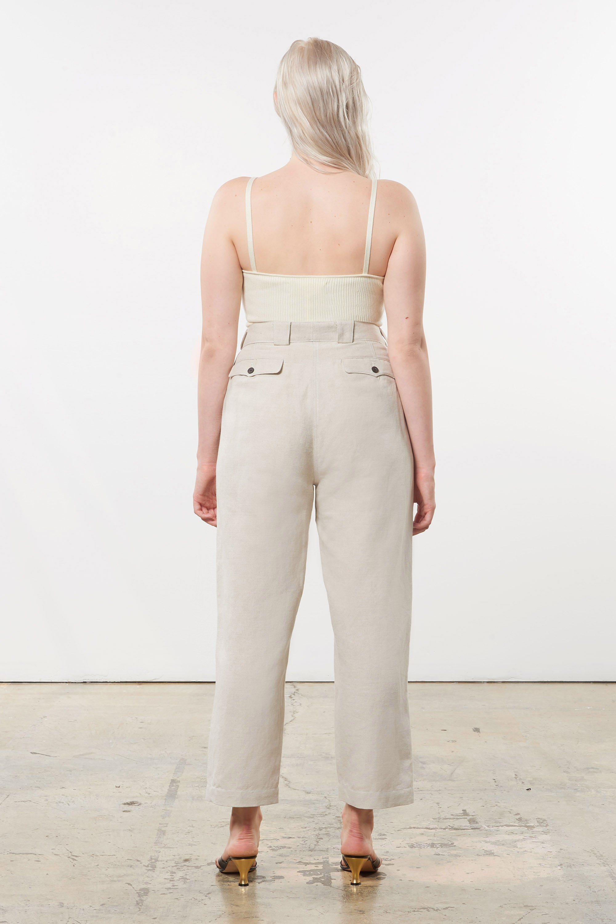 Mara Hoffman Extended Beige Jade Pant in linen and organic cotton (back)