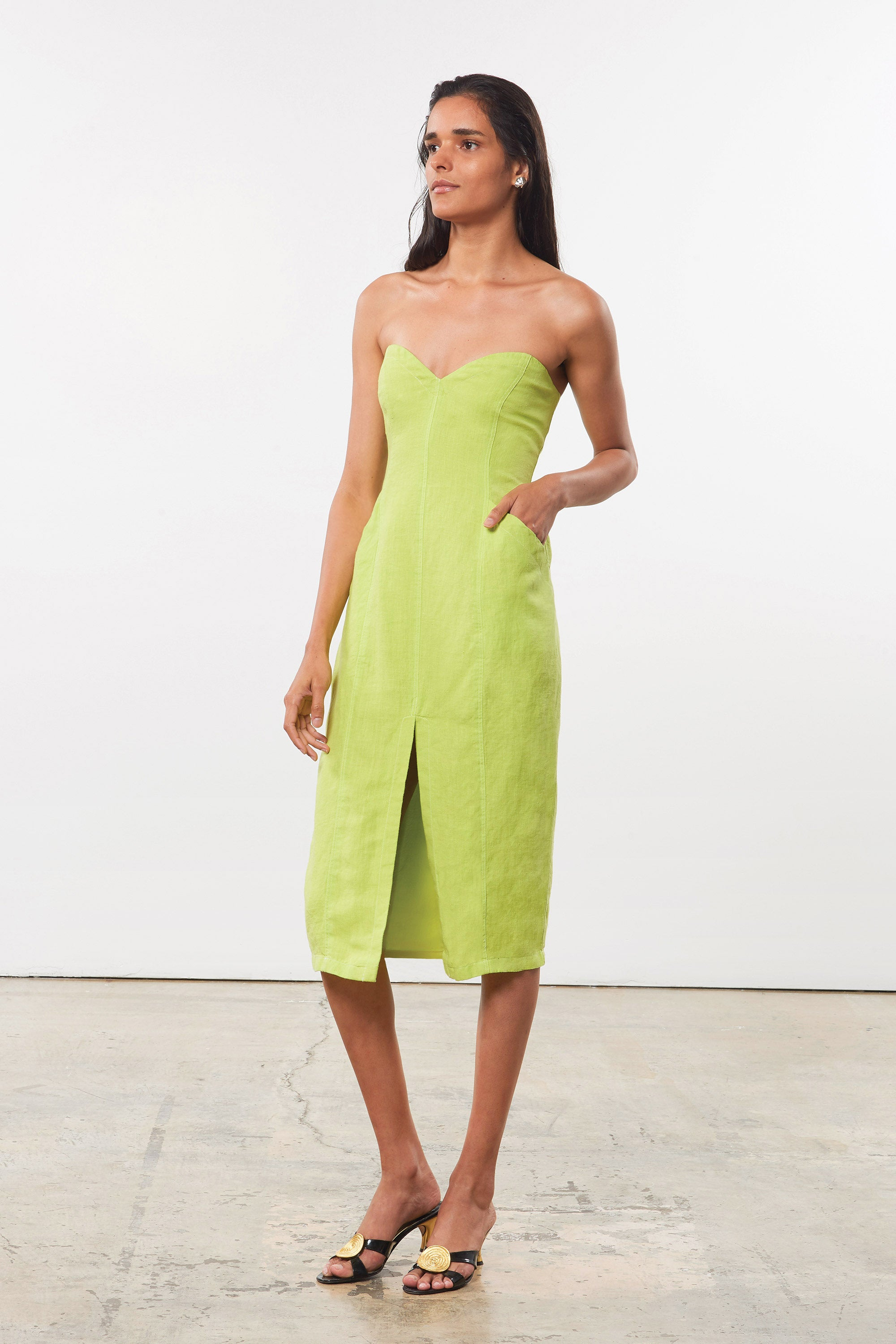 Mara Hoffman Green Diaz Dress in hemp (front side pocket)