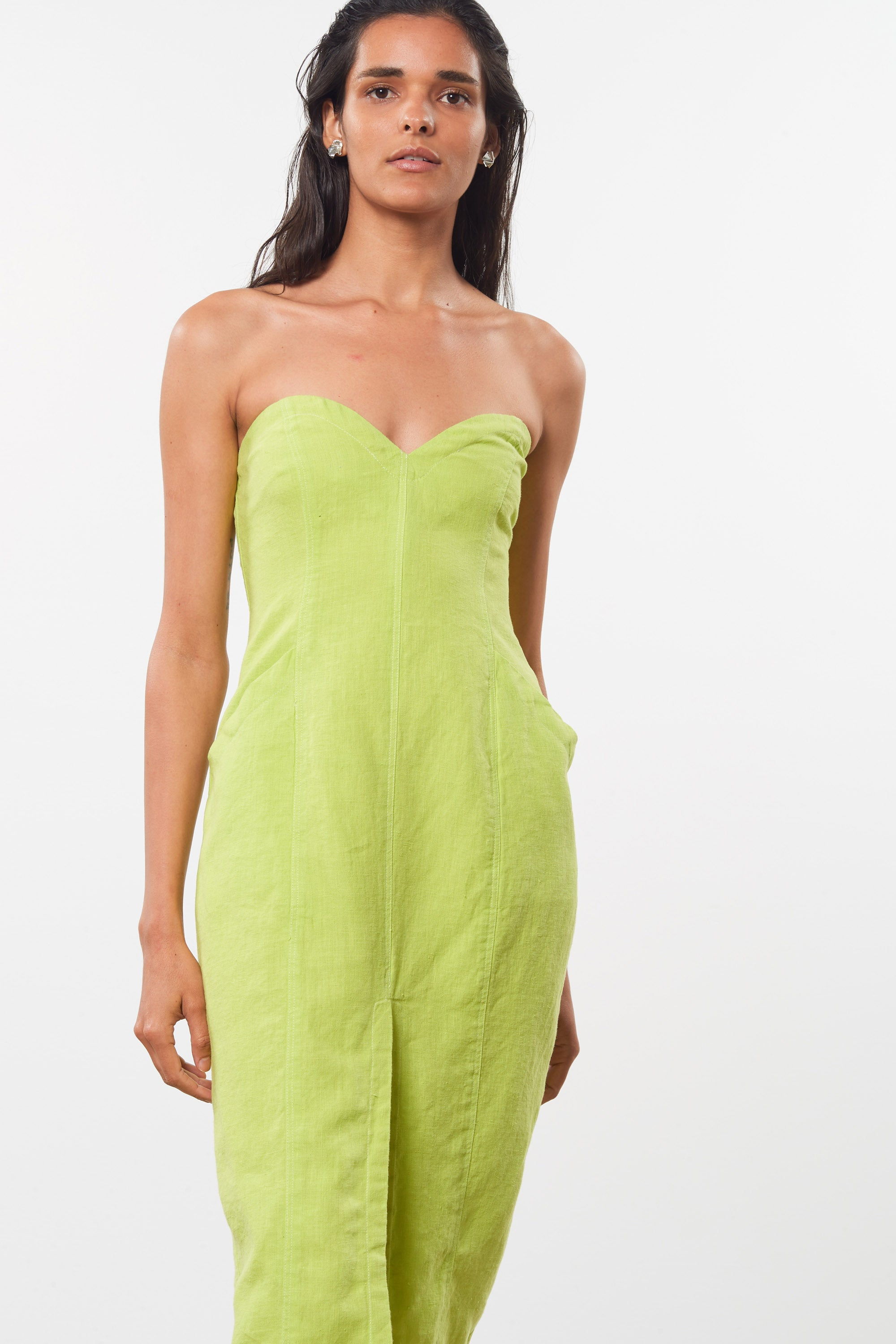Mara Hoffman Green Diaz Dress in hemp (front detail)