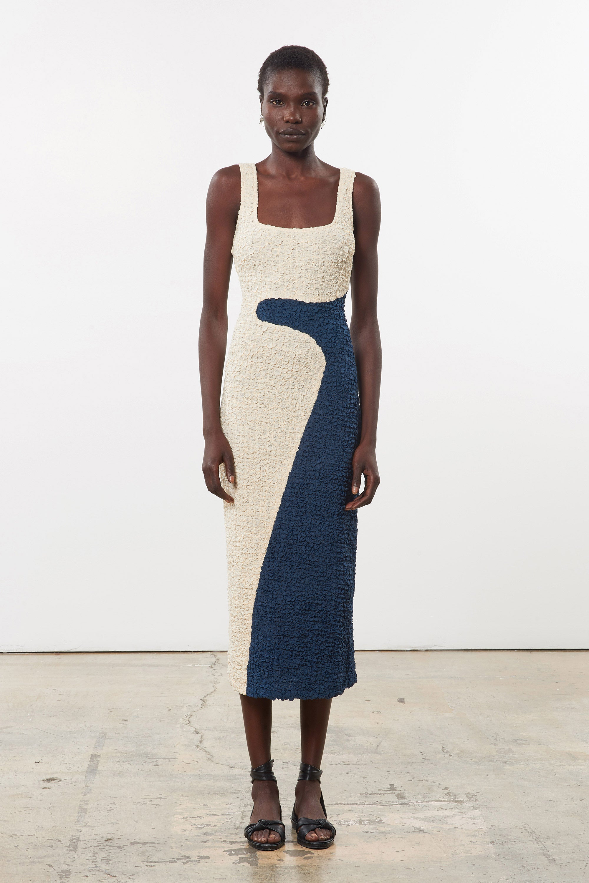 Mara Hoffman Multi (Cream and Blue) Sloan Dress in Lenzing Modal (front)