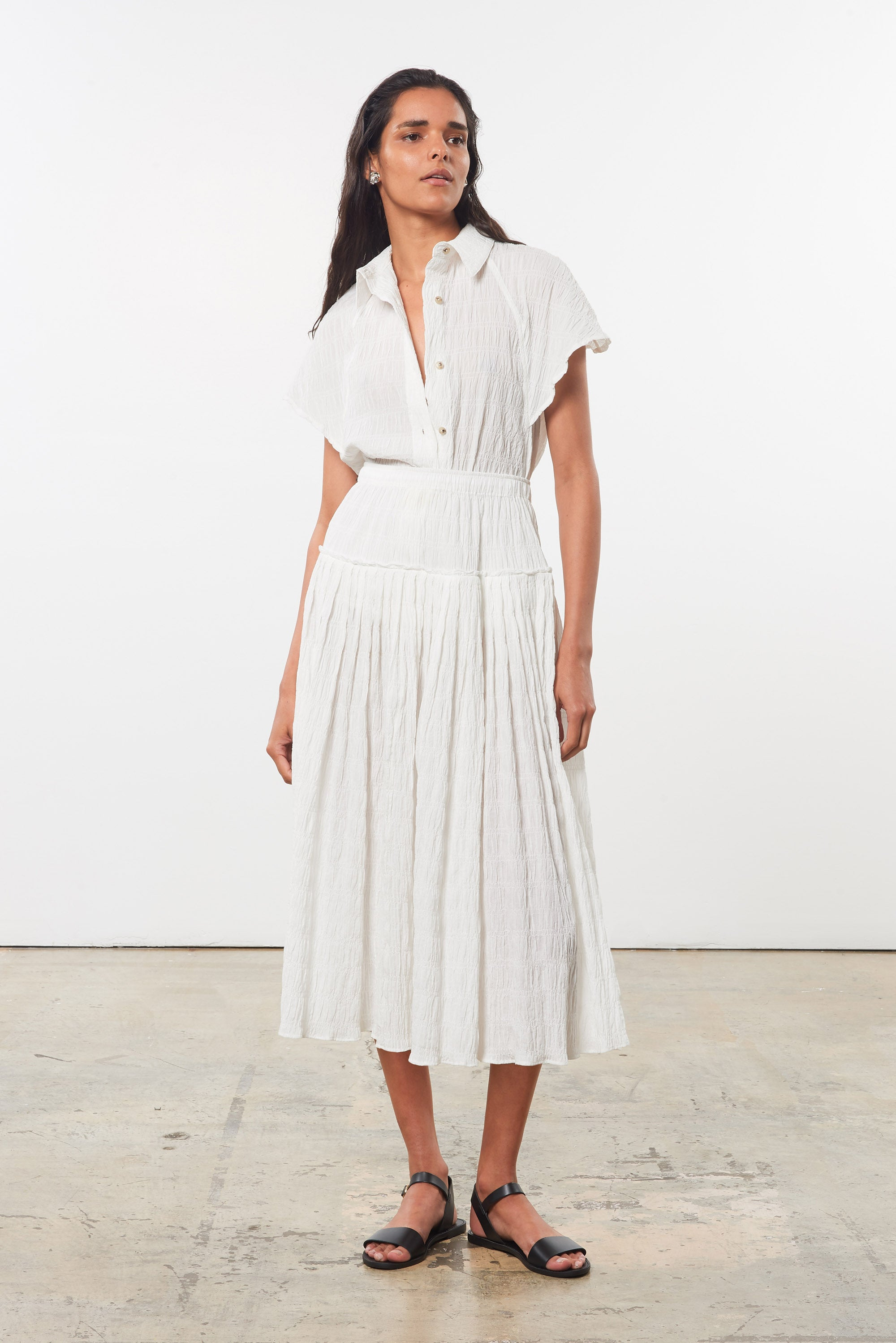 Mara Hoffman White Alejandra Skirt in organic cotton (front)