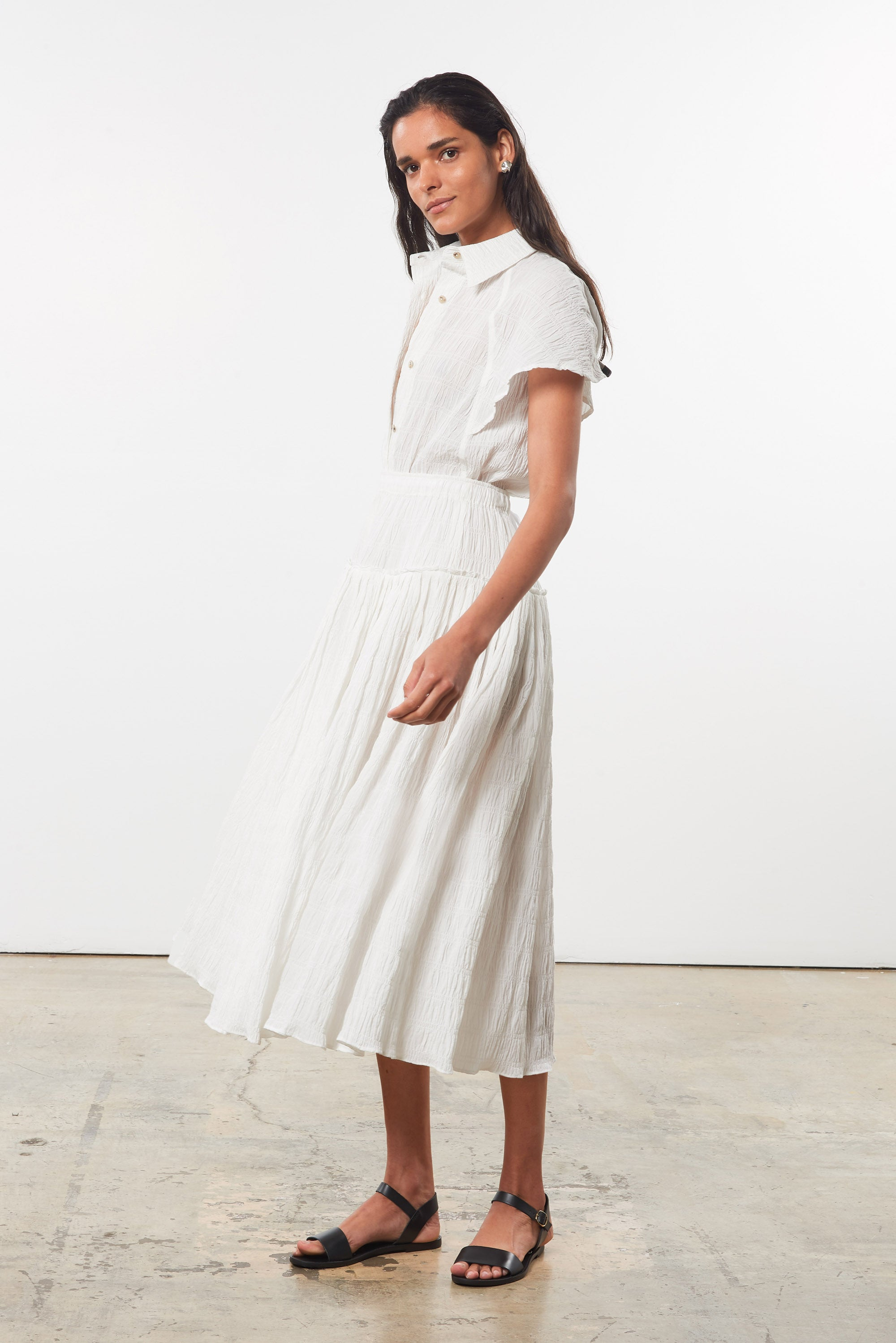 Mara Hoffman White Alejandra Skirt in organic cotton (side)