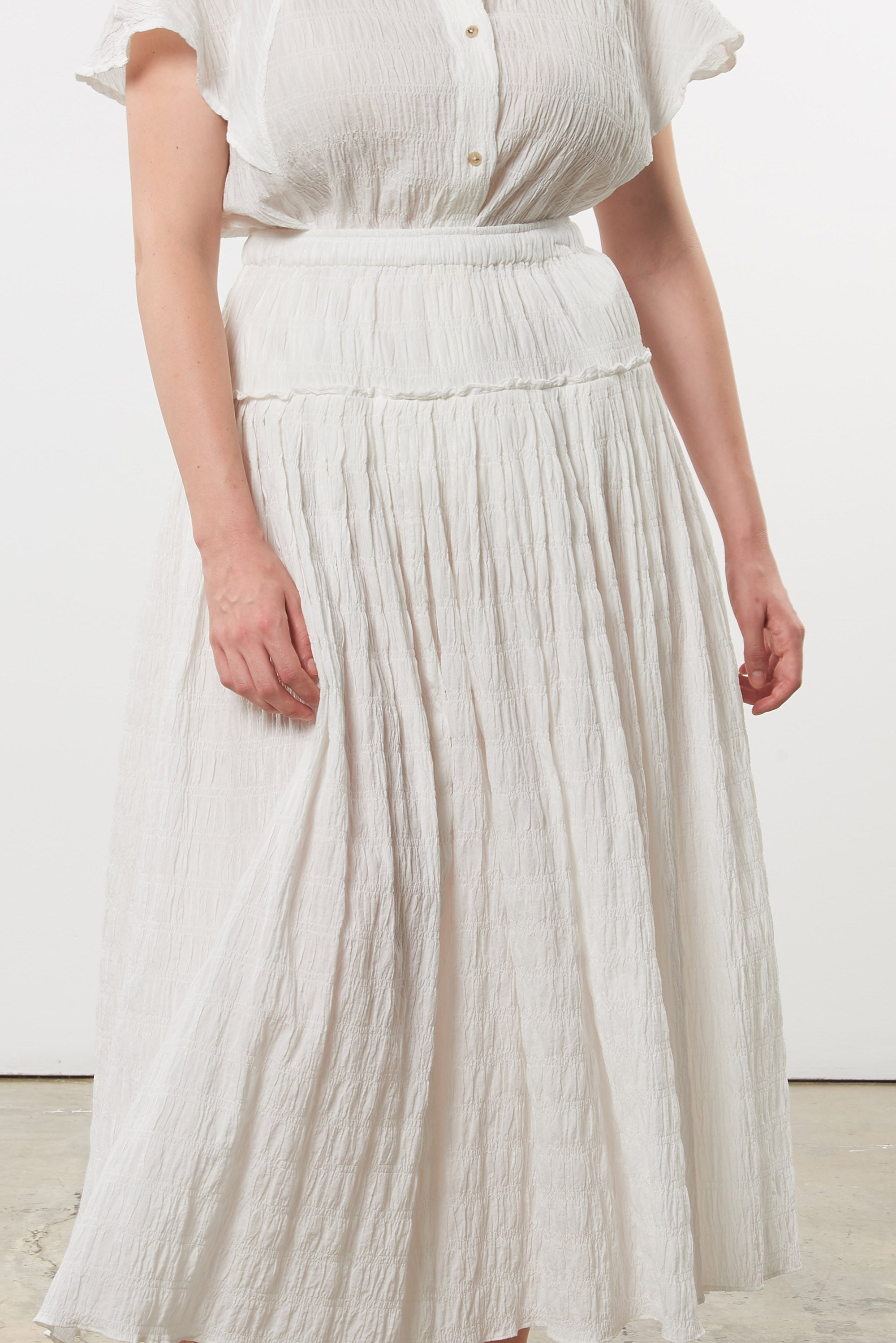 Mara Hoffman Extended White Alejandra Skirt in organic cotton (detail)