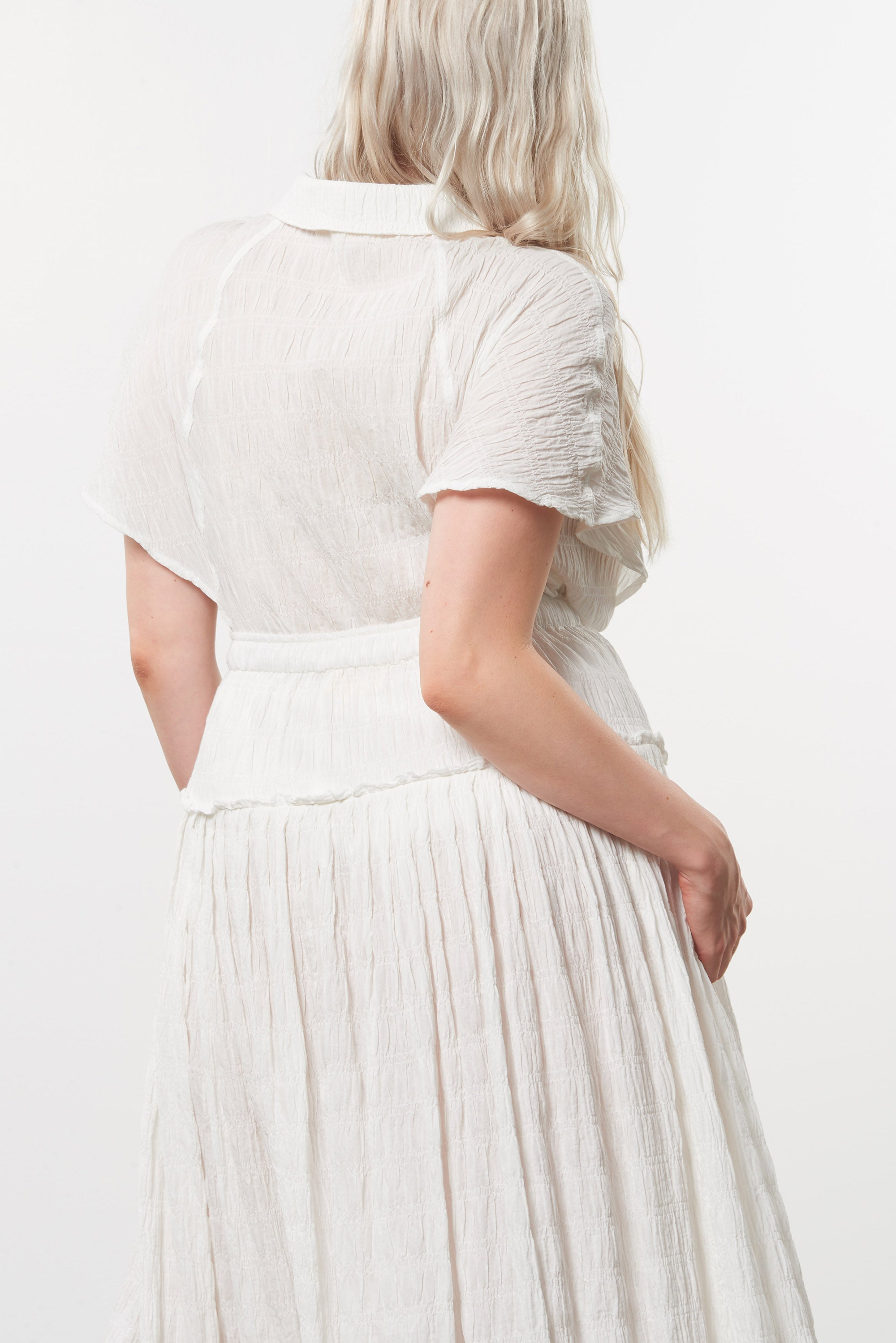 Mara Hoffman Extended White Alejandra Skirt in organic cotton (back detail)