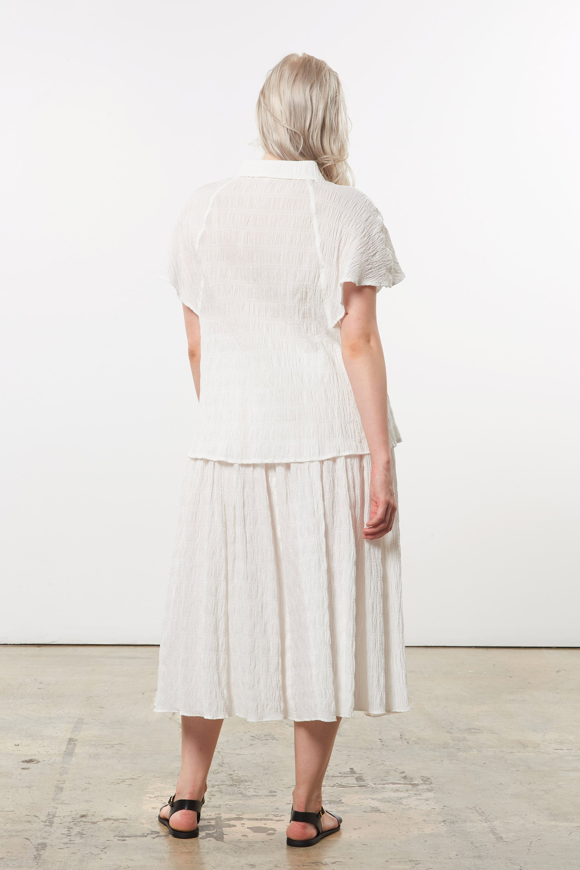 Mara Hoffman Extended White Alejandra Skirt in organic cotton (back)