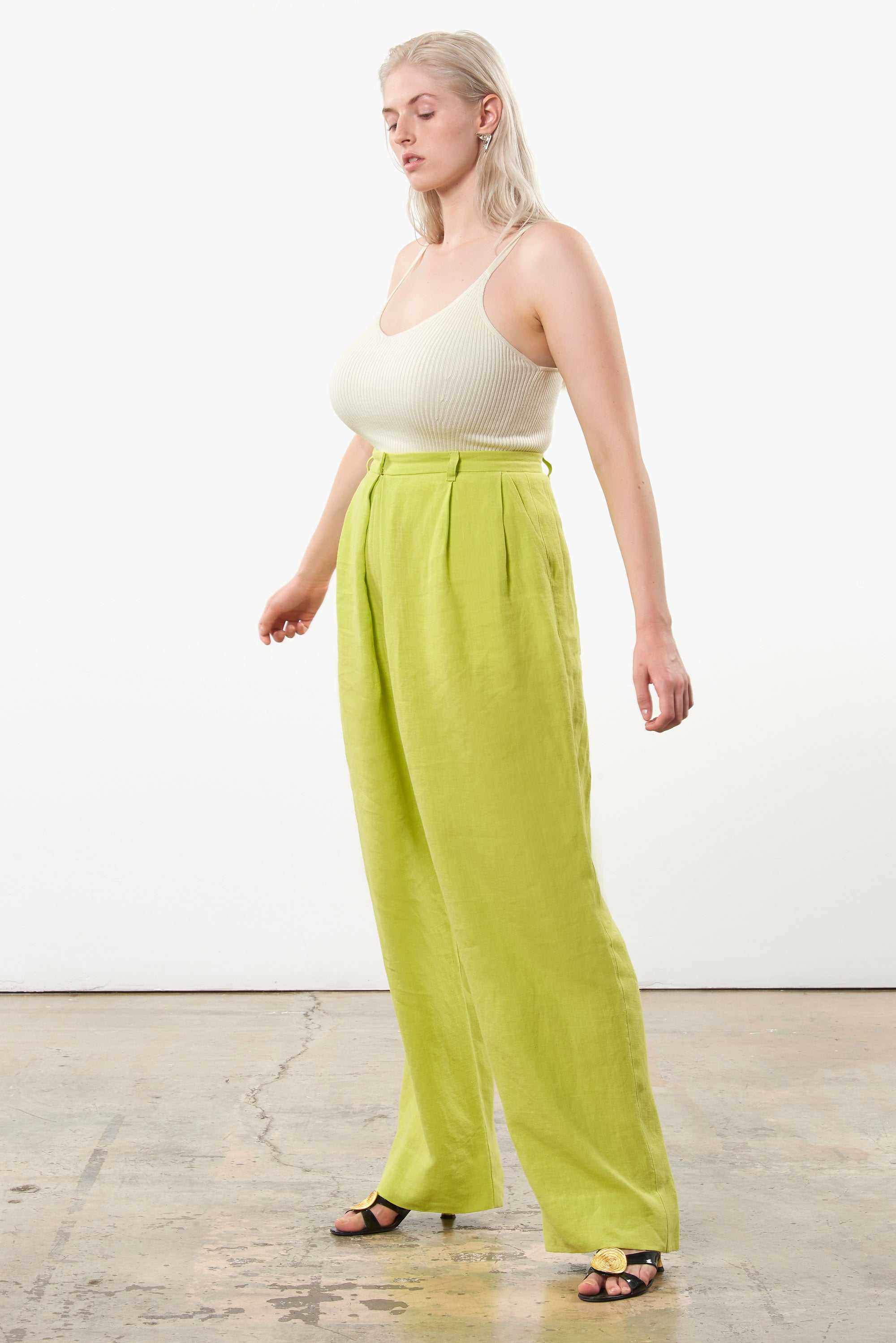 Mara Hoffman Extended Green Eldora Pant in hemp (side)
