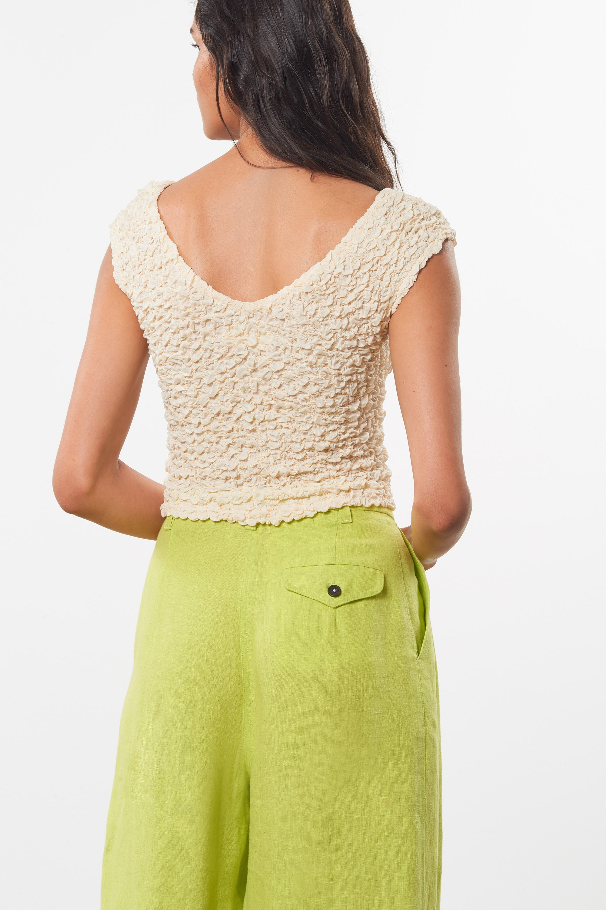 Mara Hoffman Green Eldora Pant in hemp (back pocket detail)