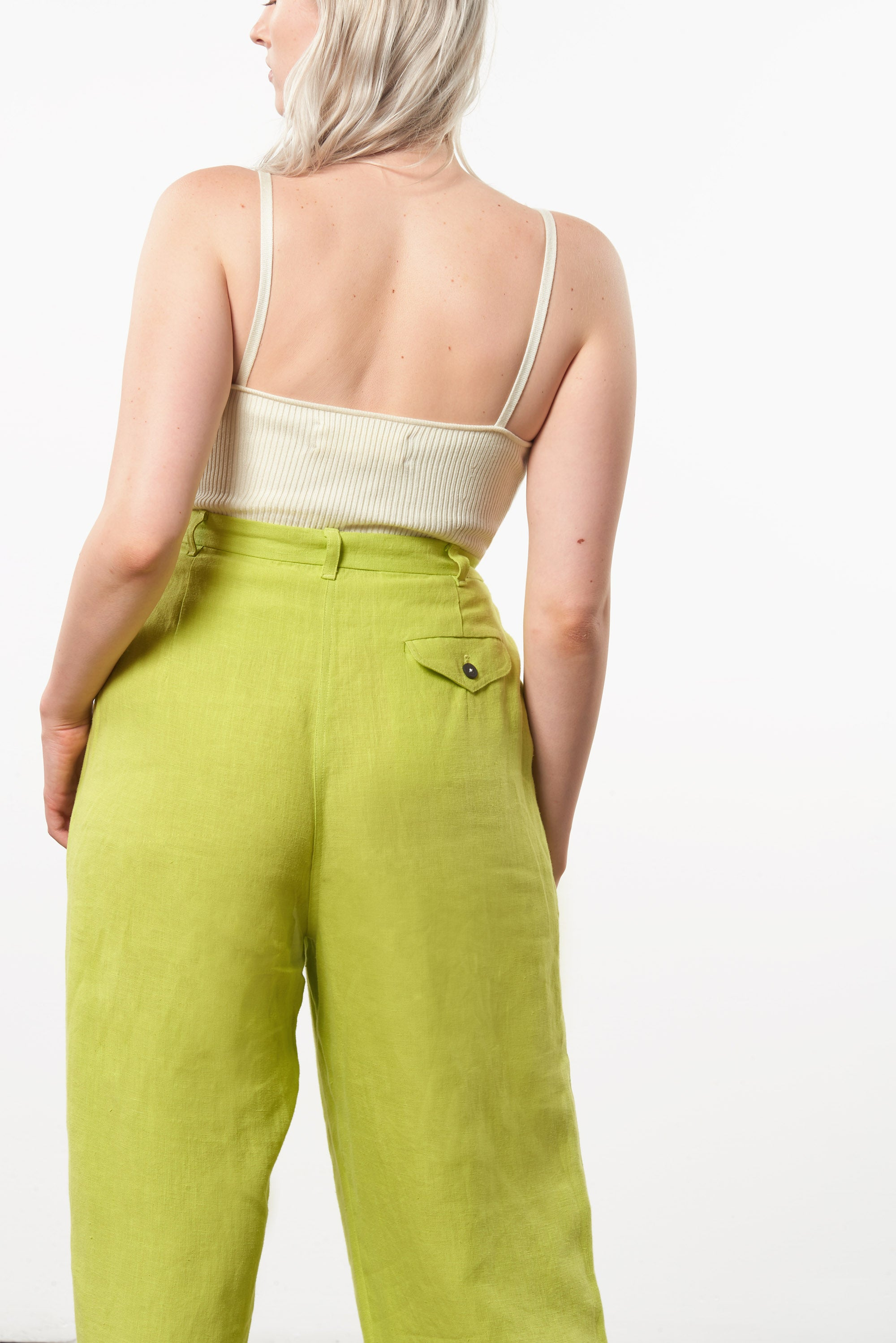 Mara Hoffman Extended Green Eldora Pant in hemp (back pocket detail)