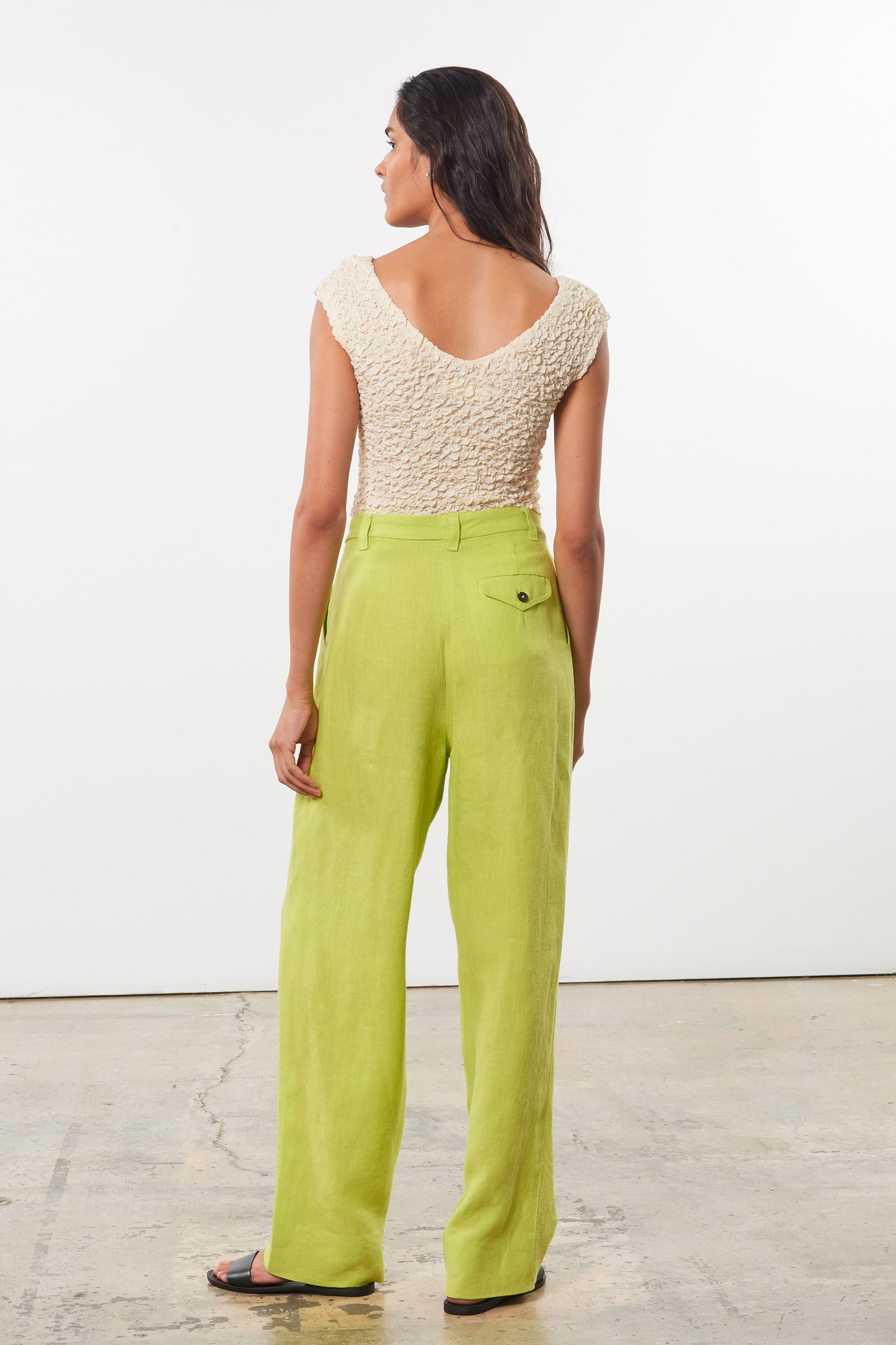 Mara Hoffman Green Eldora Pant in hemp (back)