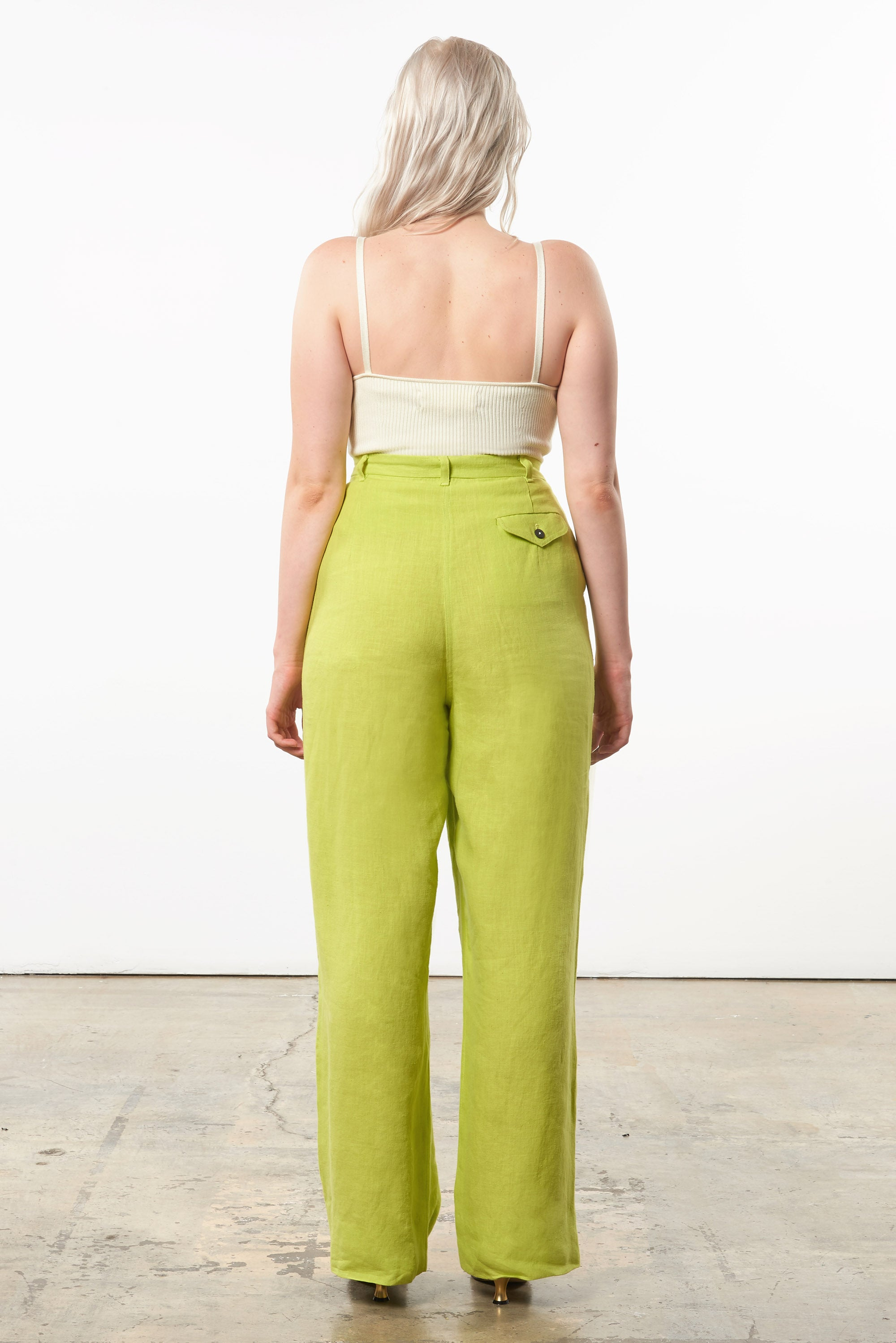Mara Hoffman Extended Green Eldora Pant in hemp (back)