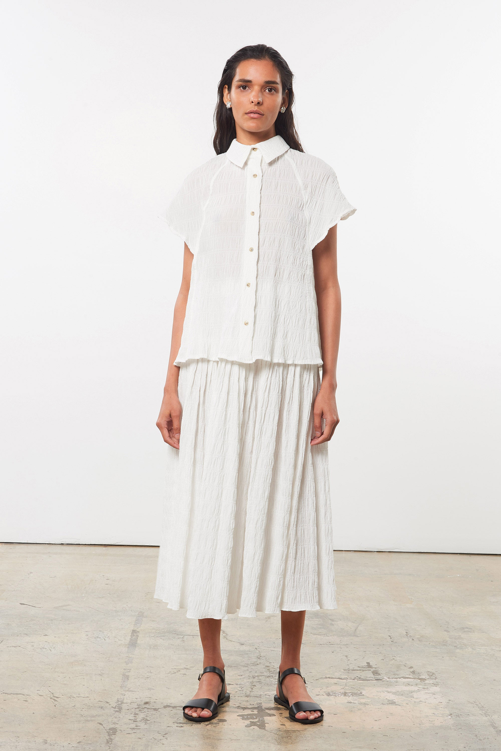 Mara Hoffman White Phebe Top in organic cotton (front)