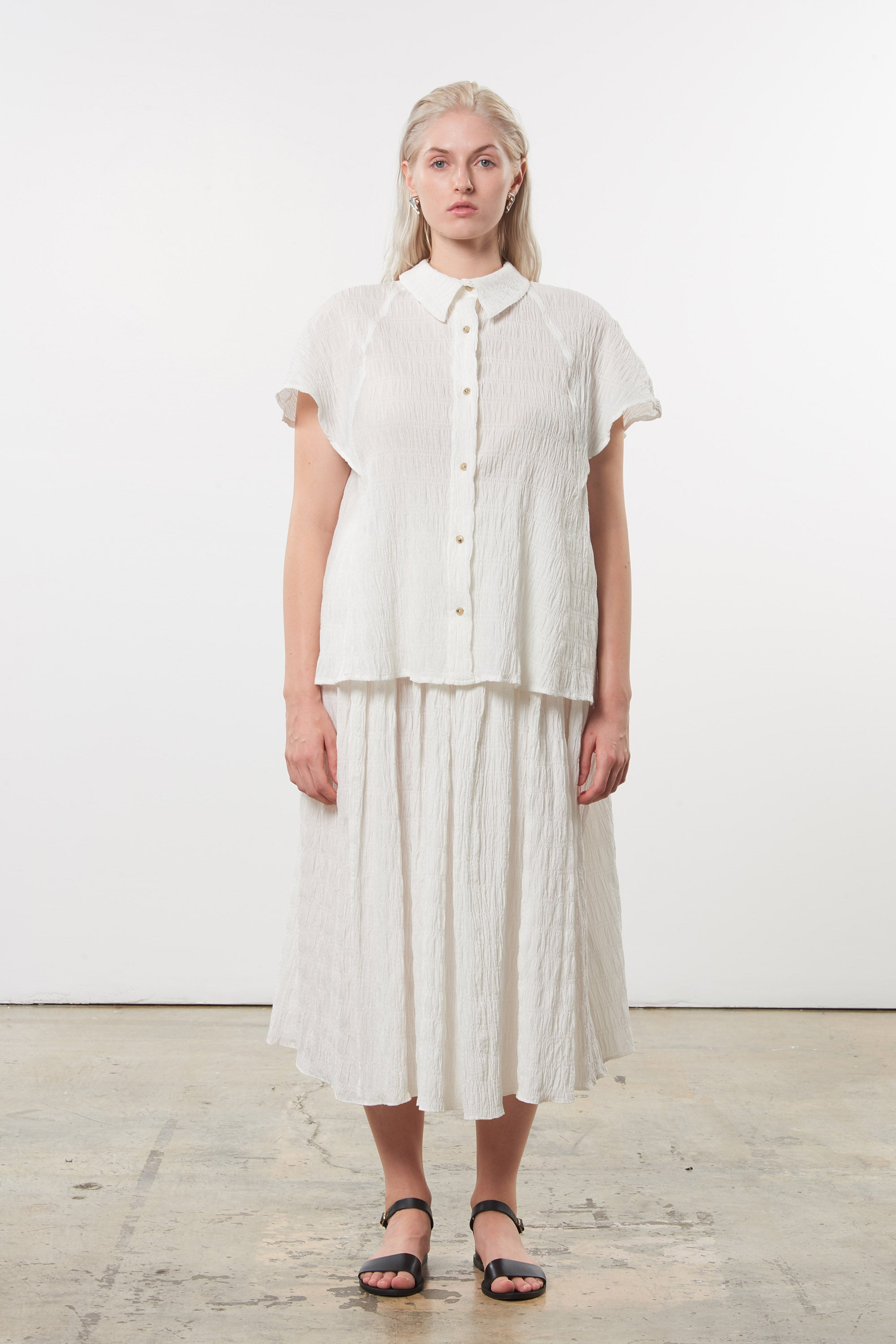 Mara Hoffman Extended White Phebe Top in organic cotton (front)
