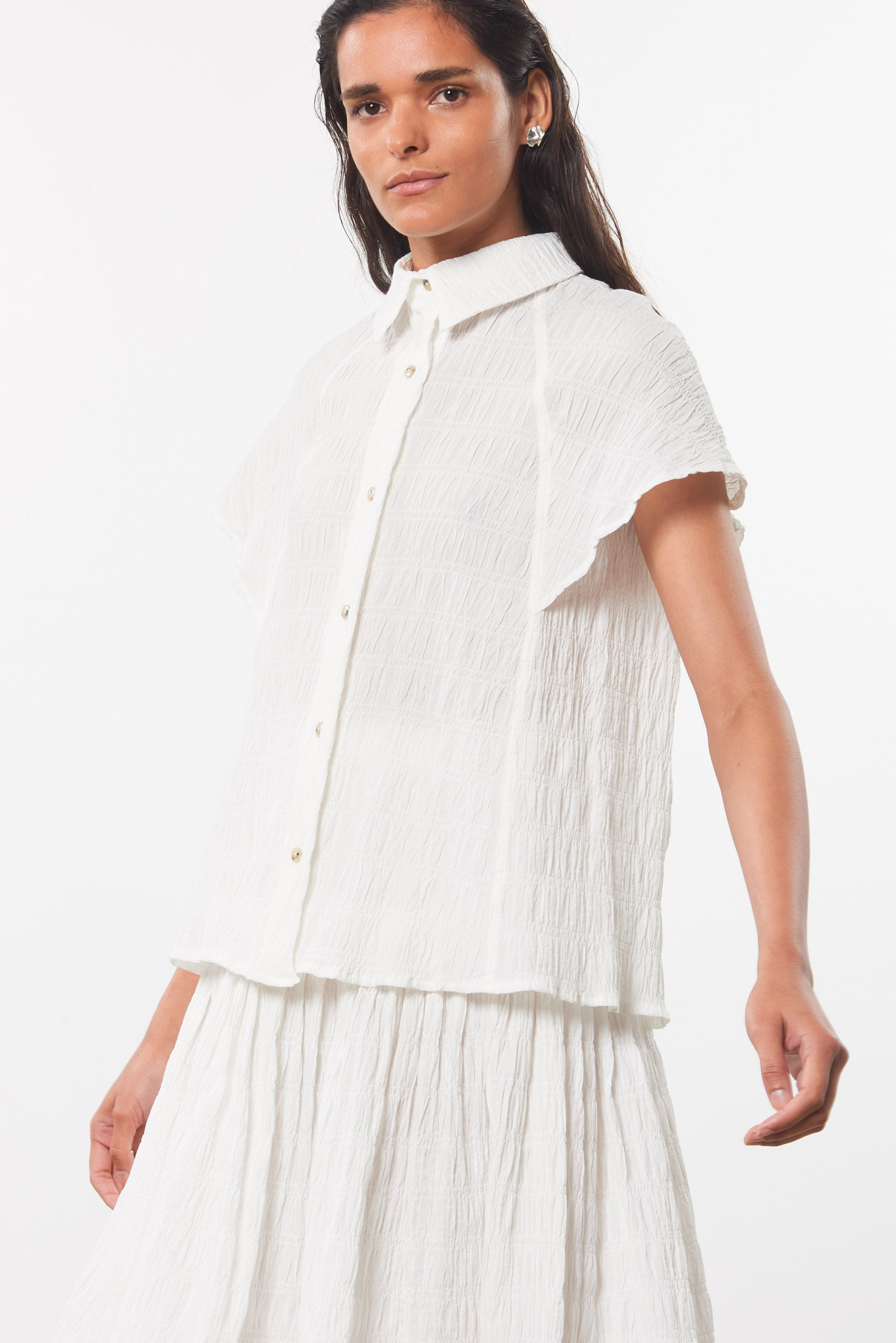 Mara Hoffman White Phebe Top in organic cotton (front side detail)