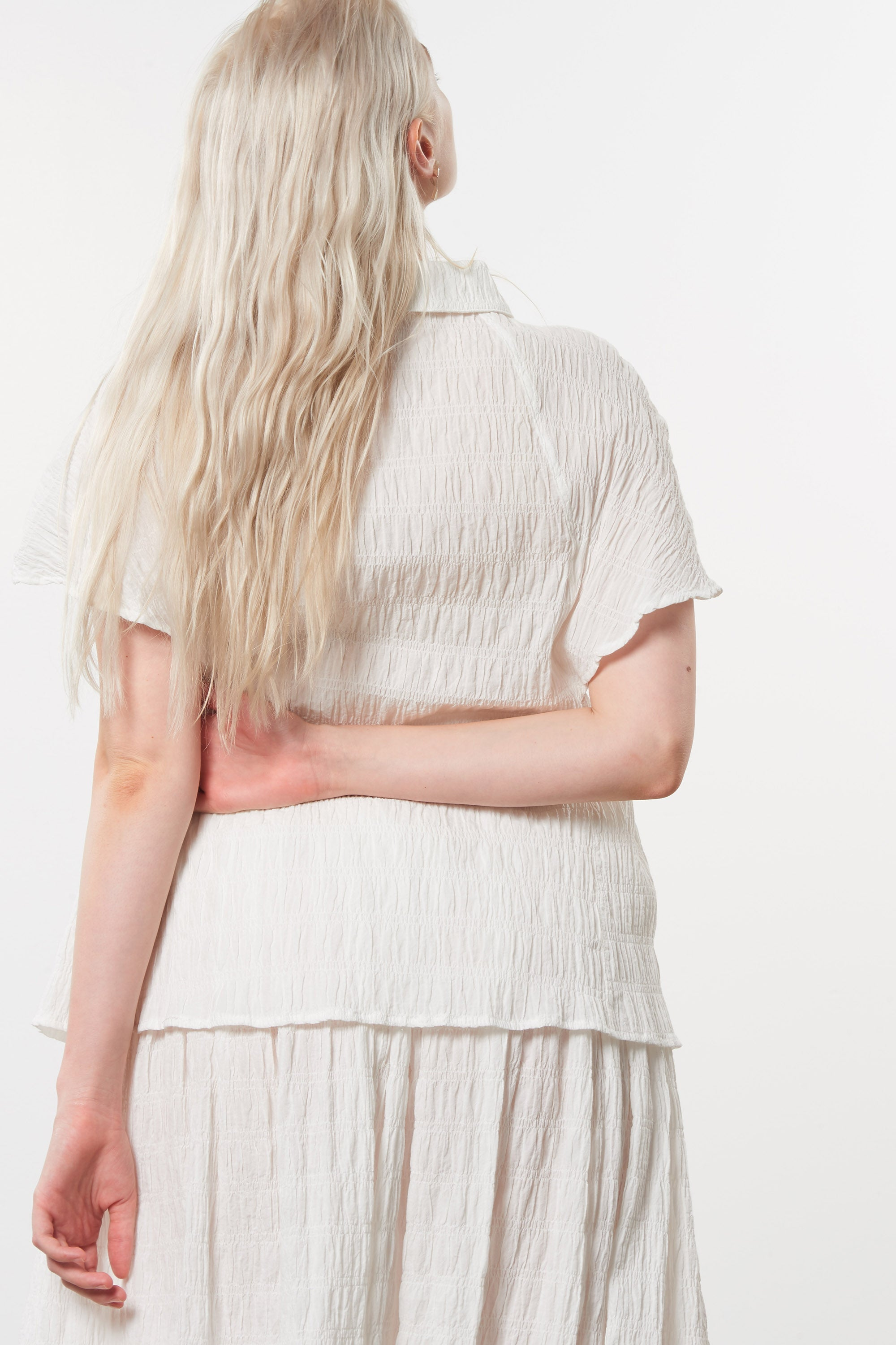 Mara Hoffman Extended White Phebe Top in organic cotton (back detail)
