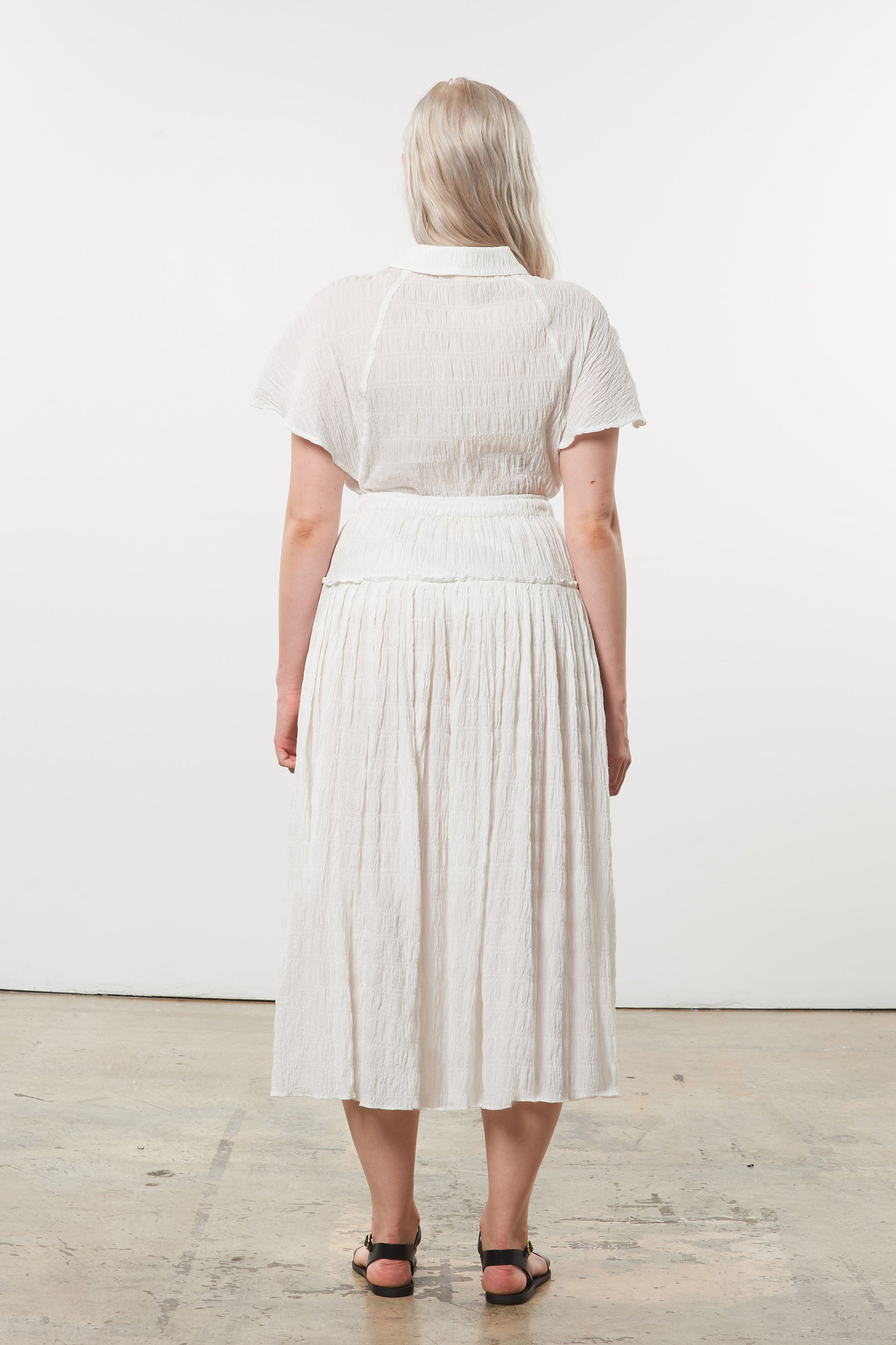 Mara Hoffman Extended White Phebe Top in organic cotton (back)
