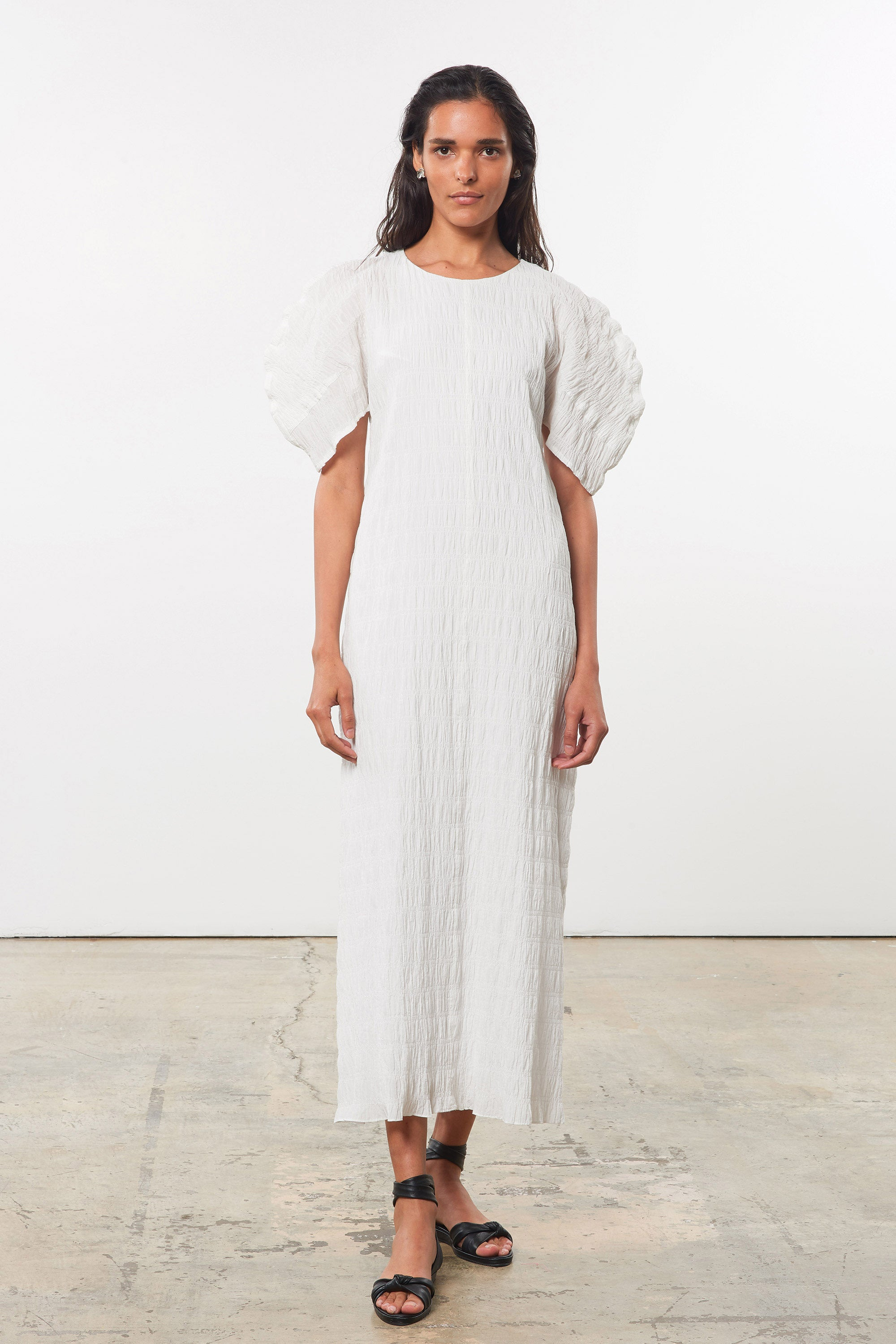 Mara Hoffman White Aranza dress in organic cotton (front)