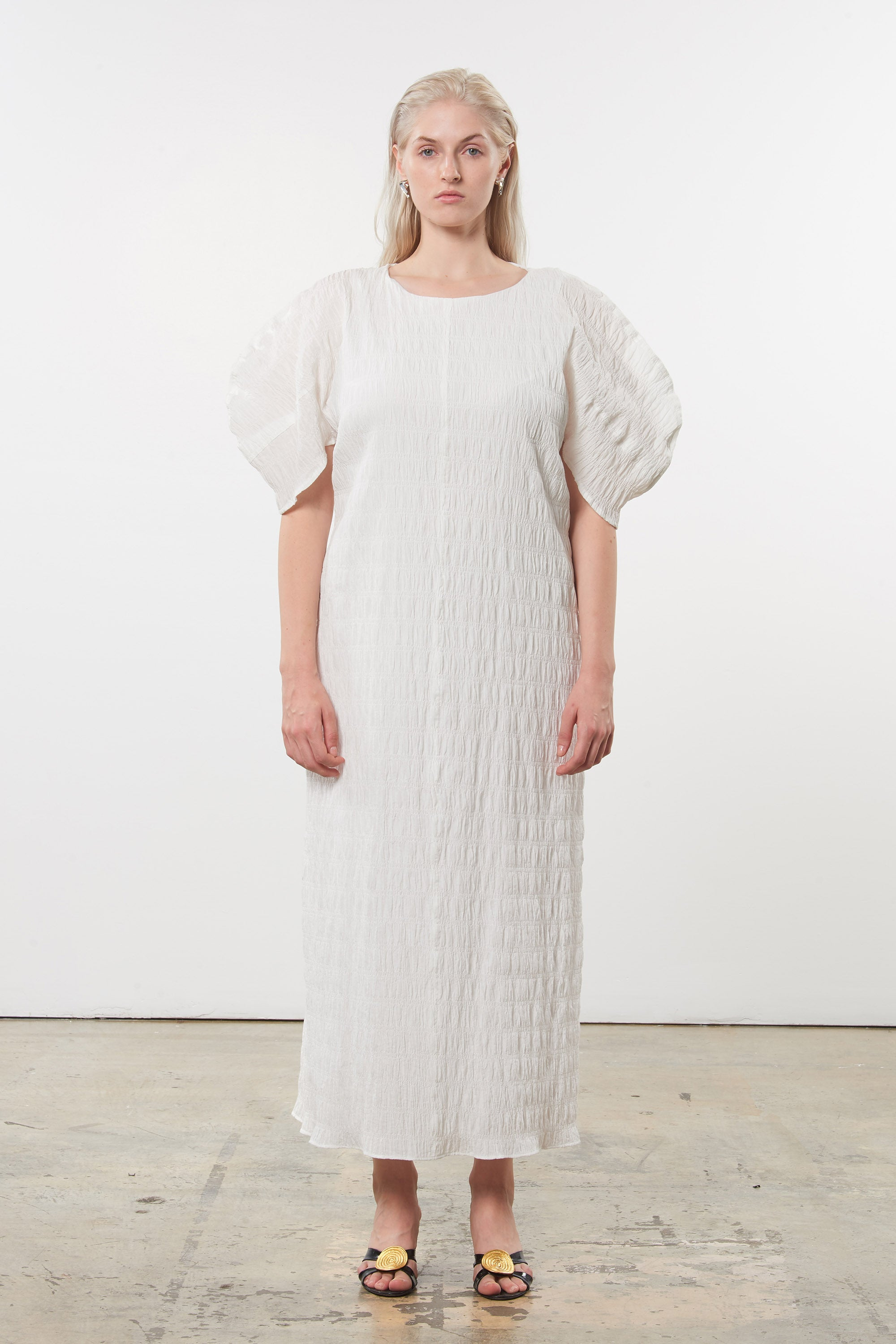 Mara Hoffman Extended White Aranza dress in organic cotton (front)