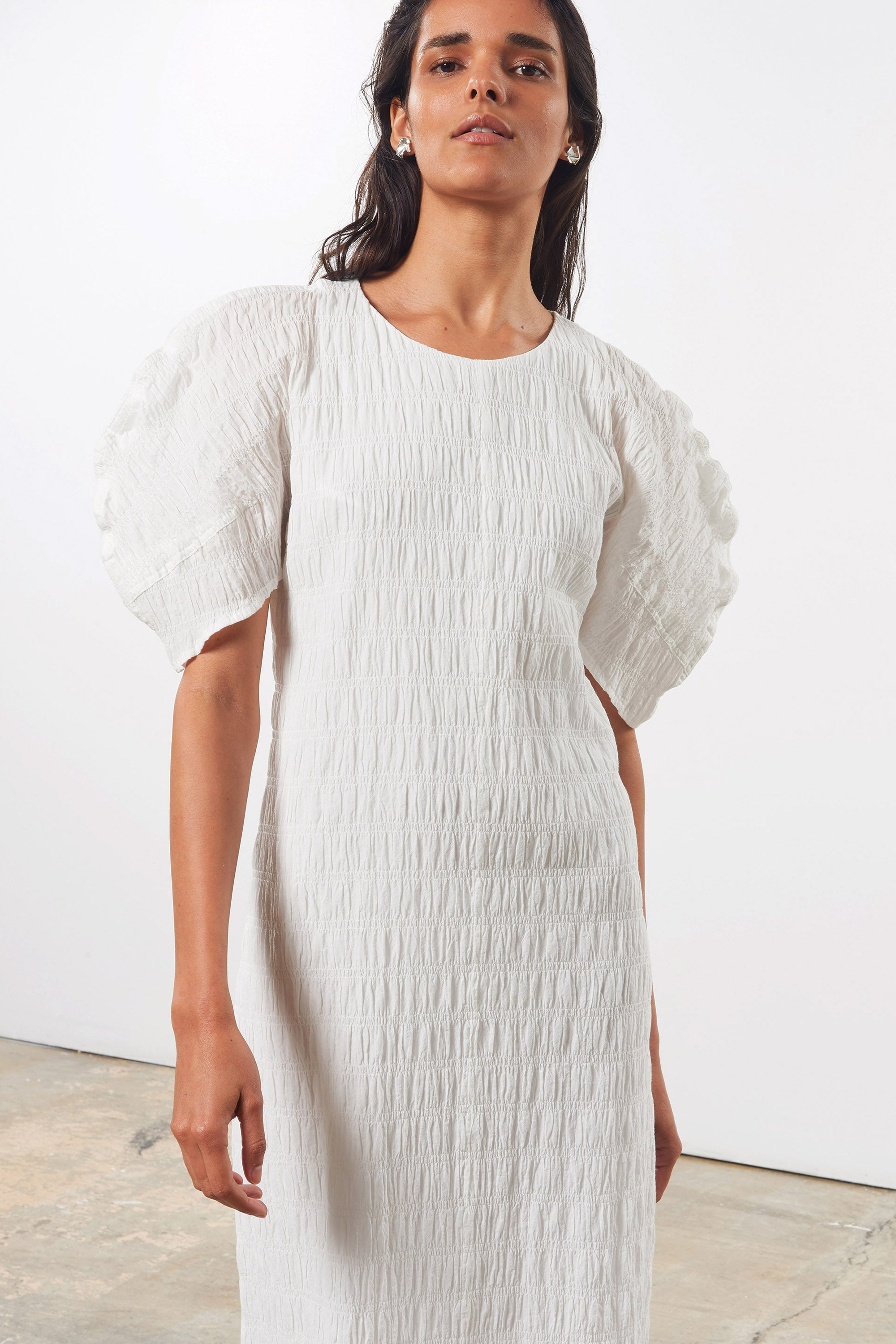 Mara Hoffman White Aranza dress in organic cotton (front detail)