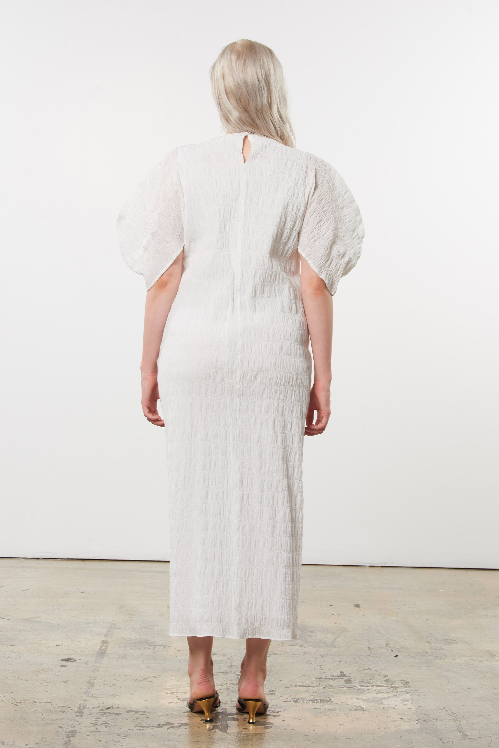 Mara Hoffman Extended White Aranza dress in organic cotton (back)