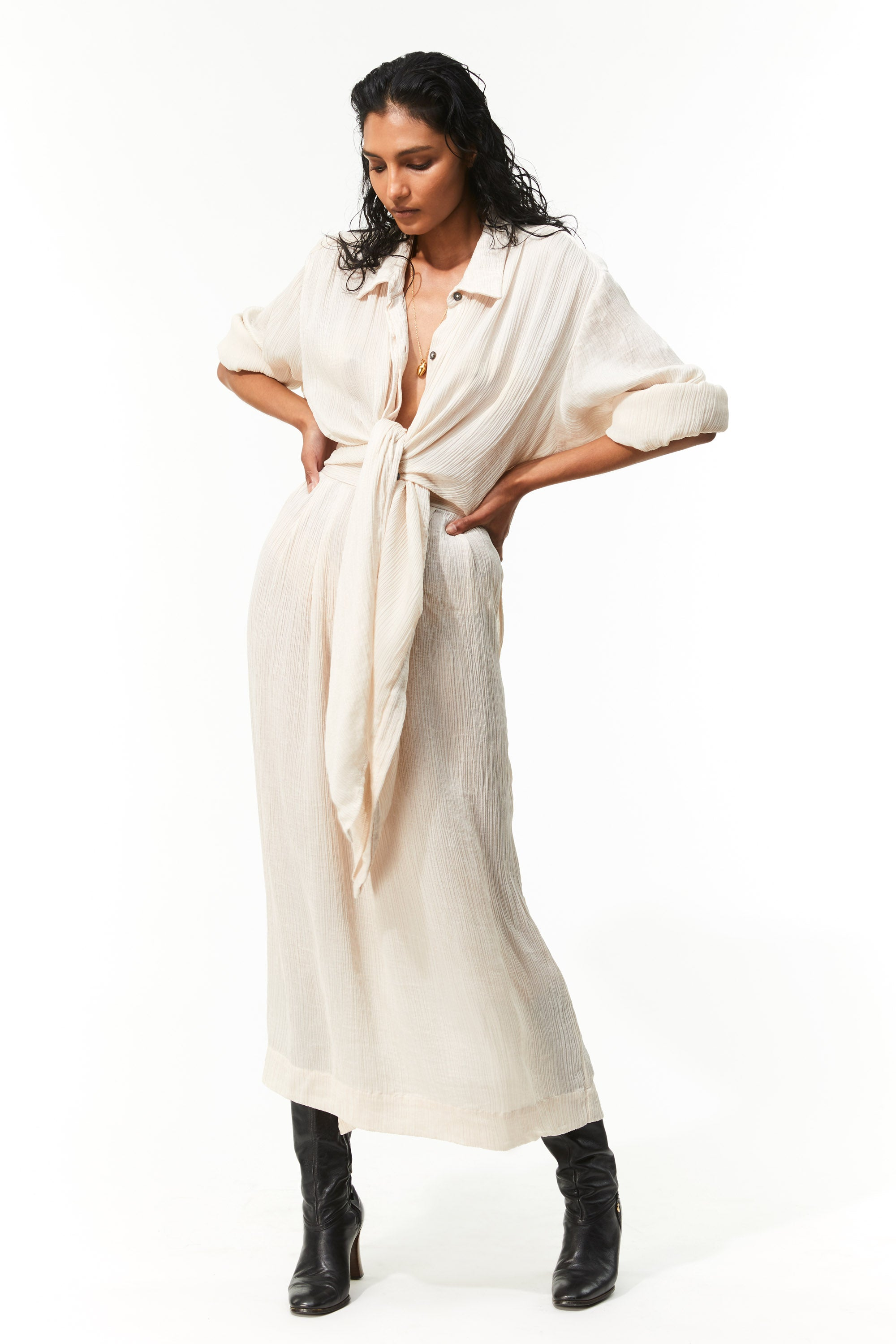 Mara Hoffman Ivory Agata Dress in Tencel Lyocell (front)