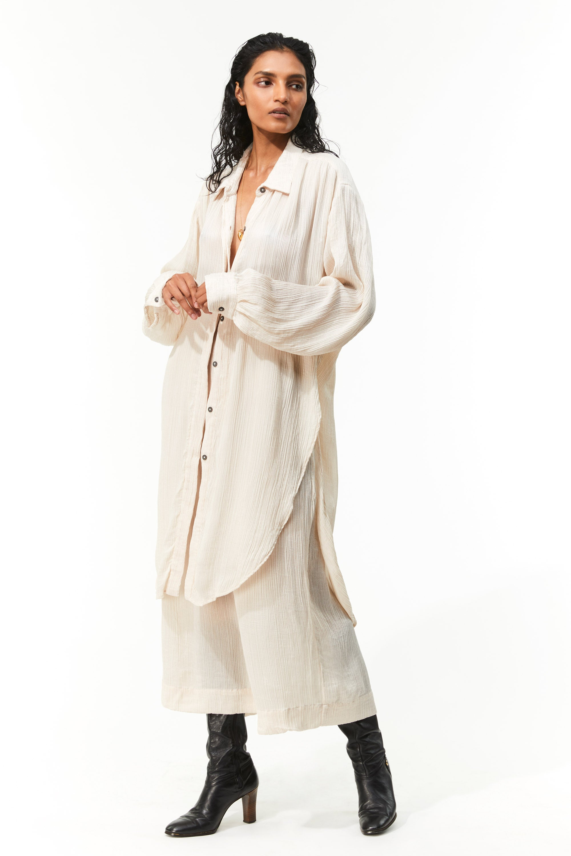 Mara Hoffman Ivory Agata Dress in Tencel Lyocell (untucked)