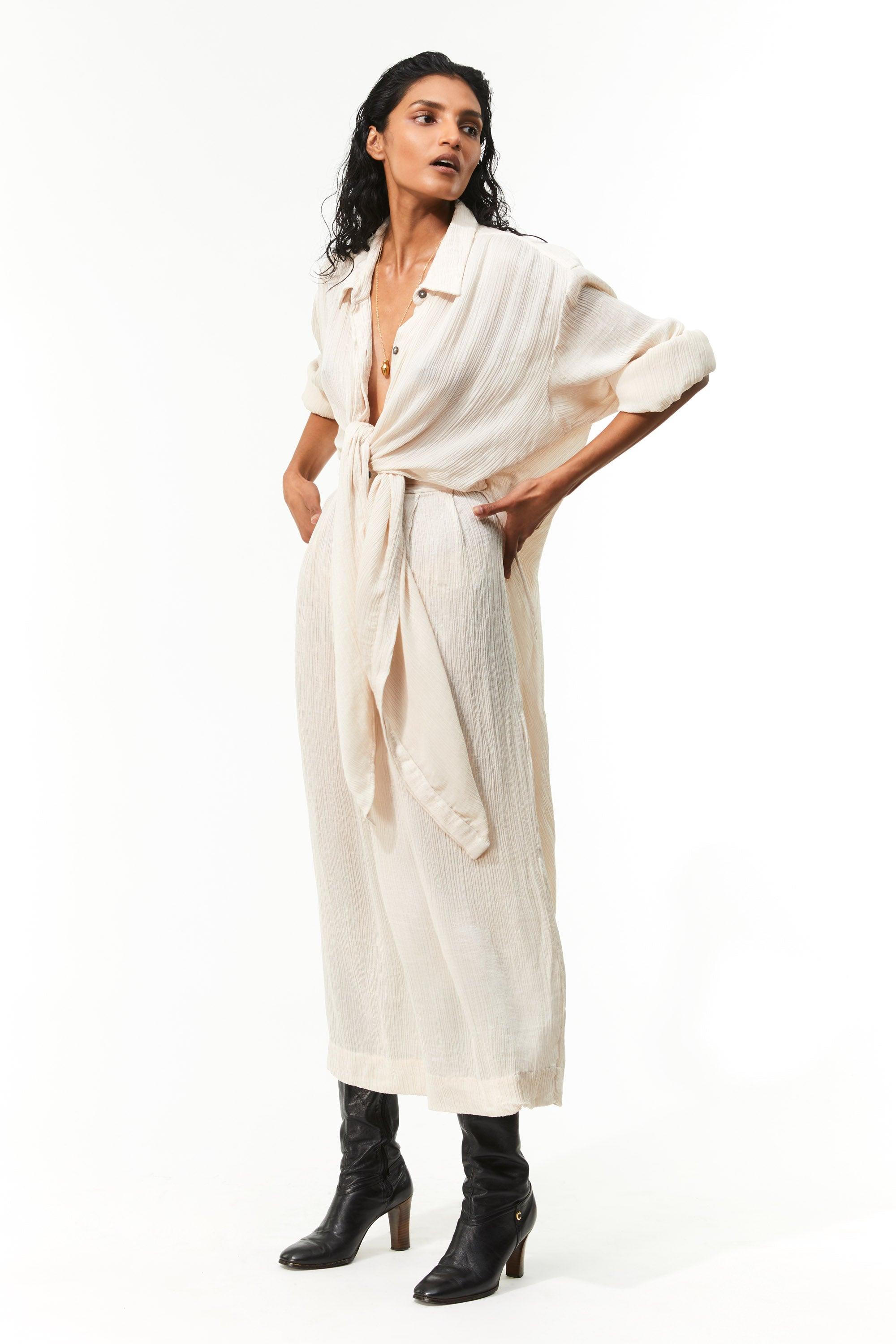 Mara Hoffman Ivory Agata Dress in Tencel Lyocell (tied)
