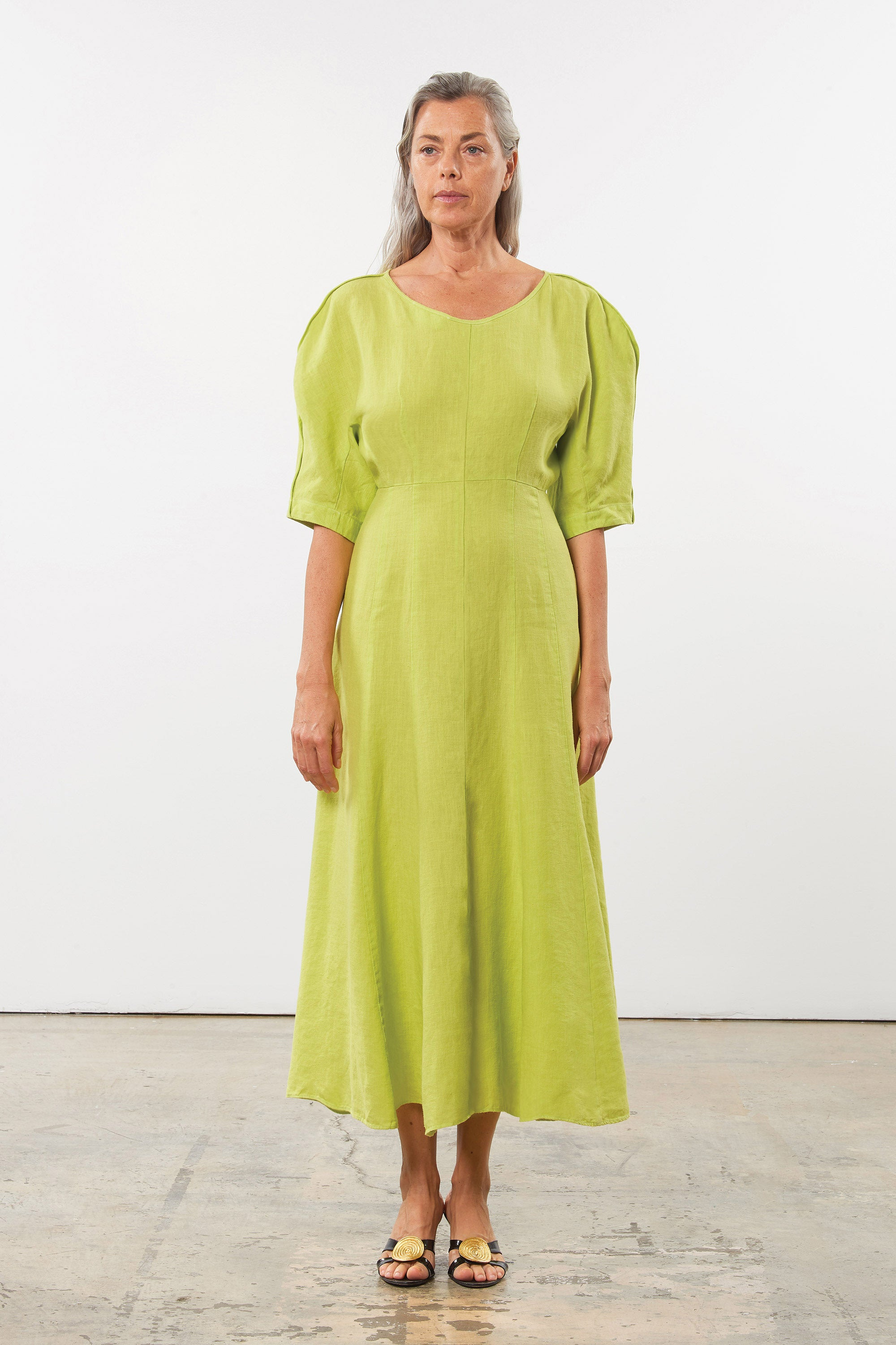 Mara Hoffman Green Sicily Dress in Hemp (front)