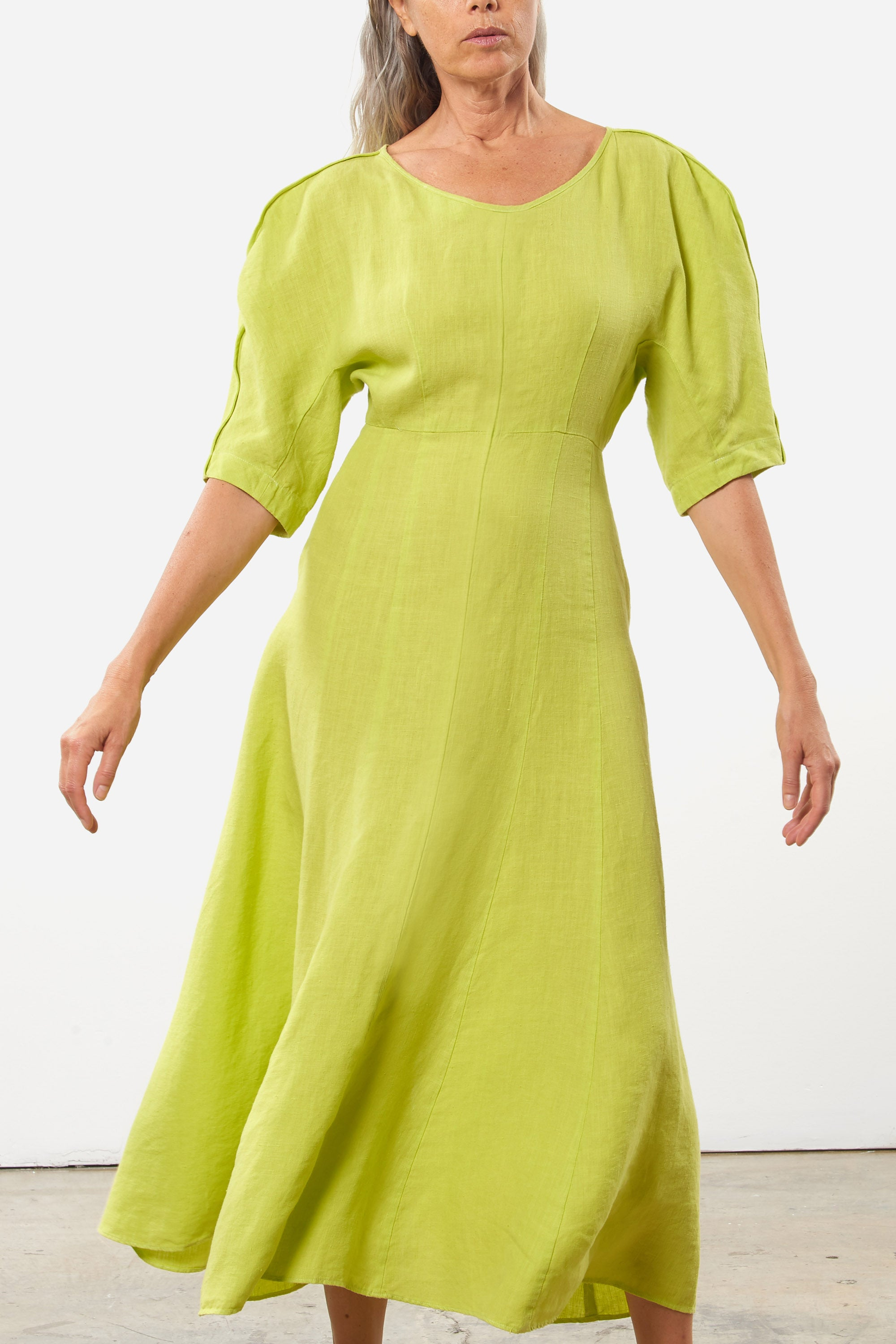 Mara Hoffman Green Sicily Dress in Hemp (front movement)