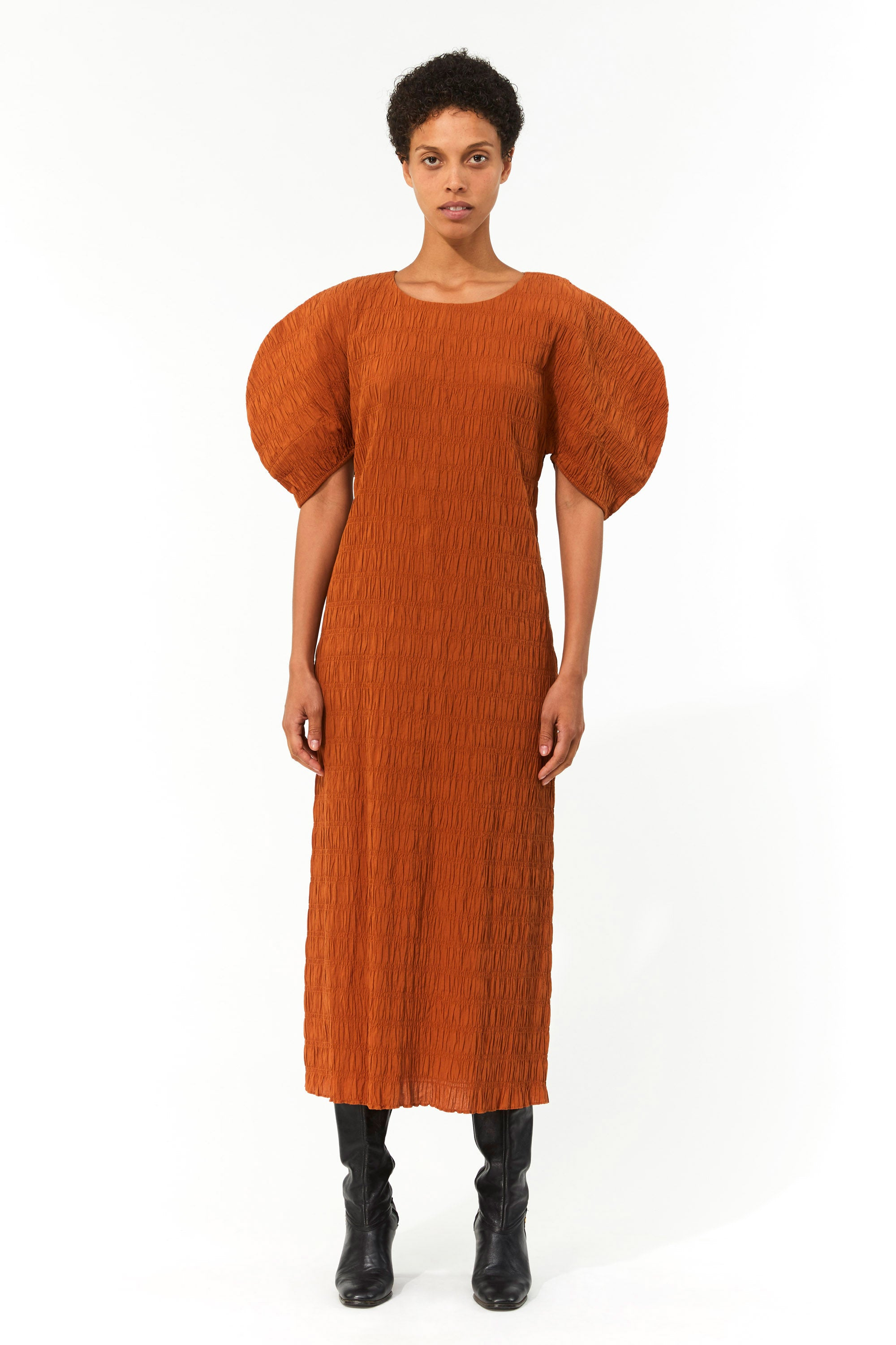 Mara Hoffman Brown Aranza dress in organic cotton (front)