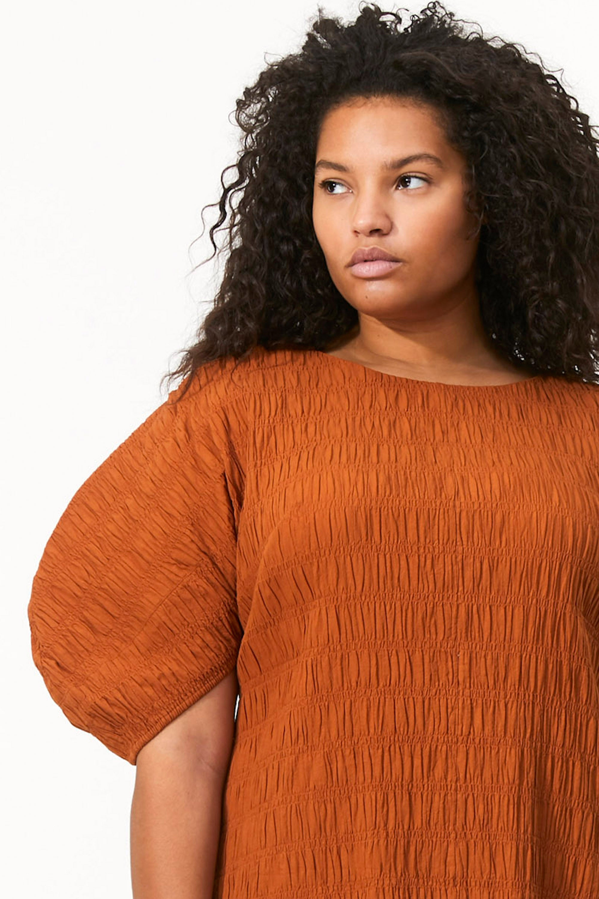Mara Hoffman Extended Brown Aranza dress in organic cotton (sleeve detail)