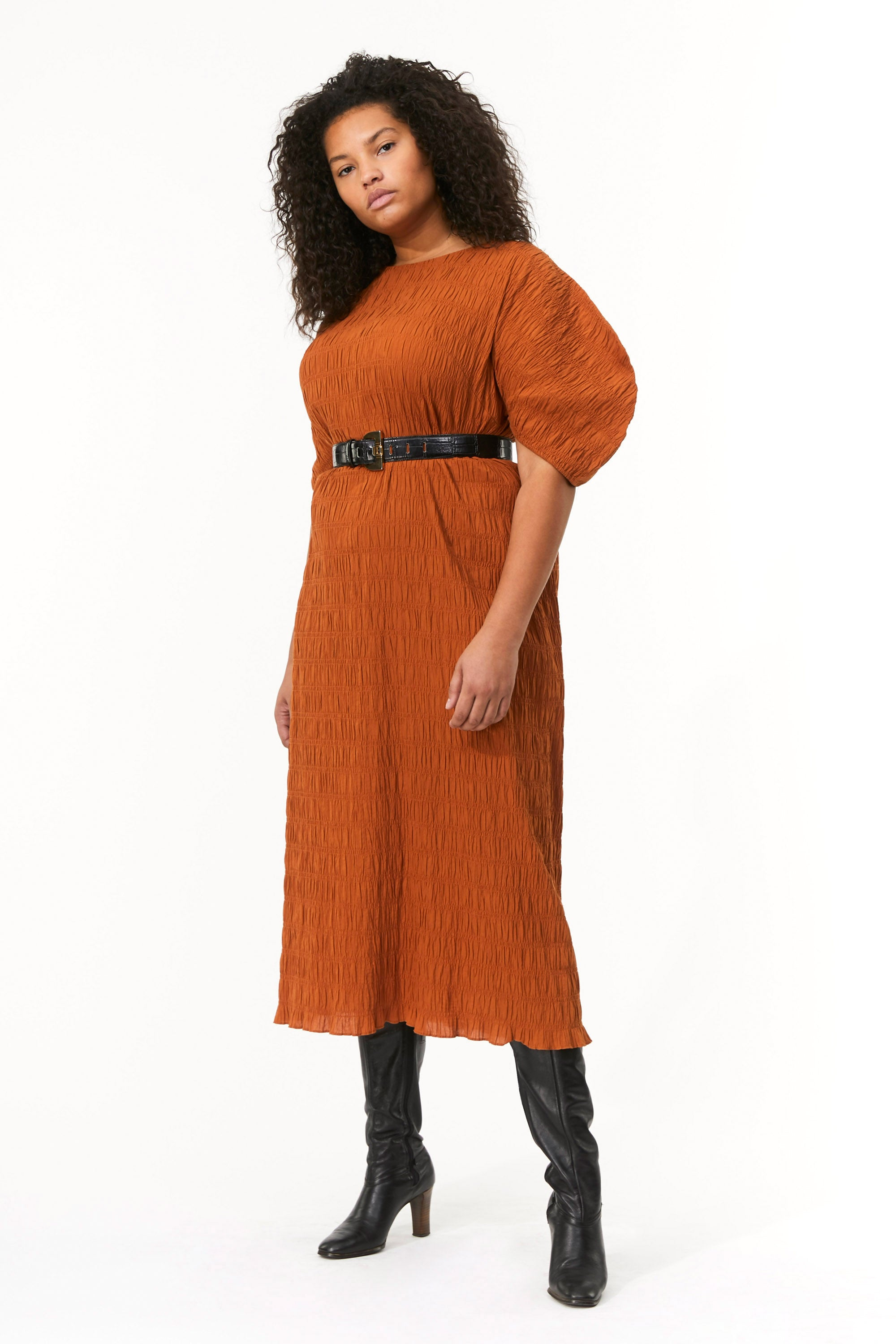 Mara Hoffman Extended Brown Aranza dress in organic cotton (front)
