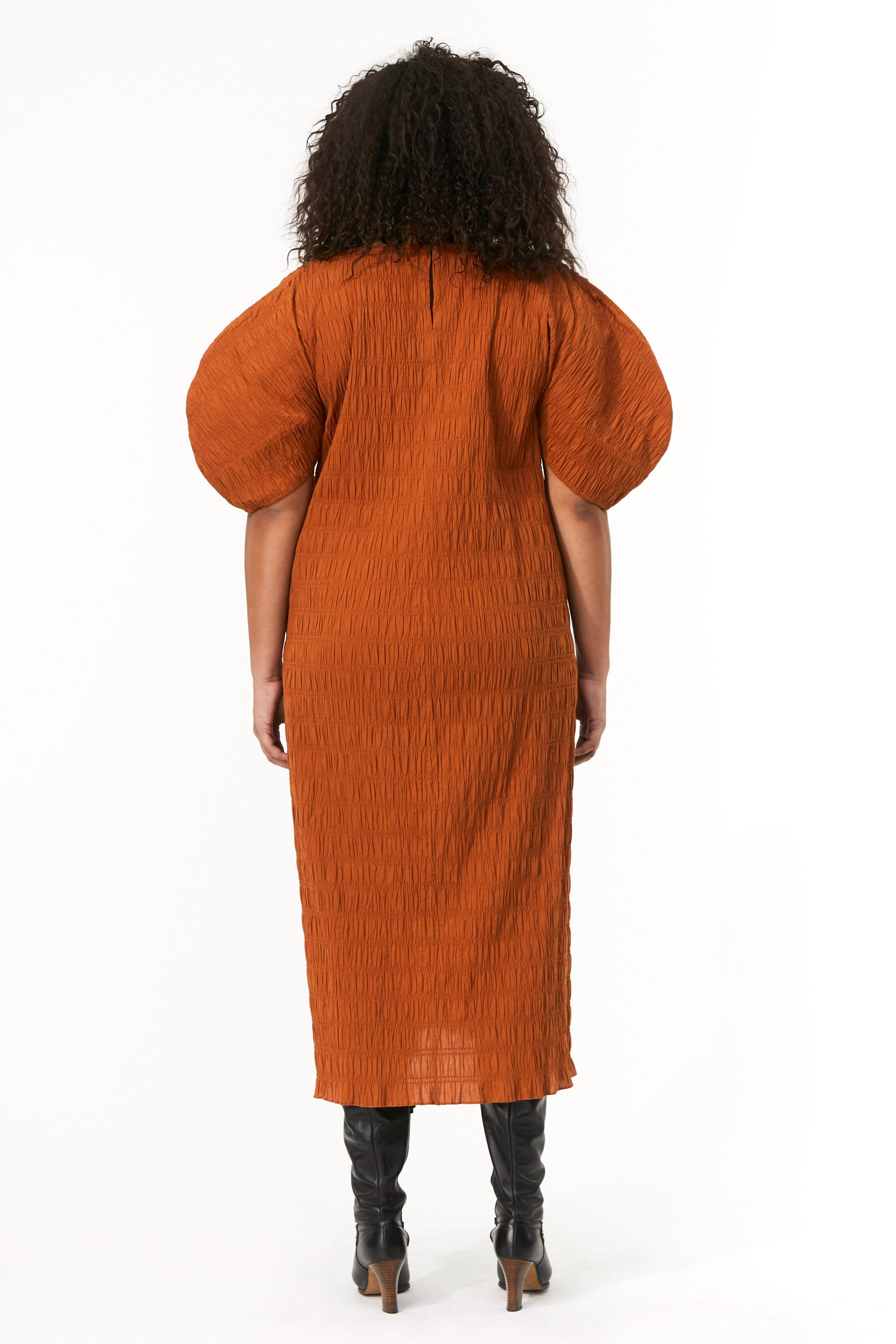 Mara Hoffman Extended Brown Aranza dress in organic cotton (back)