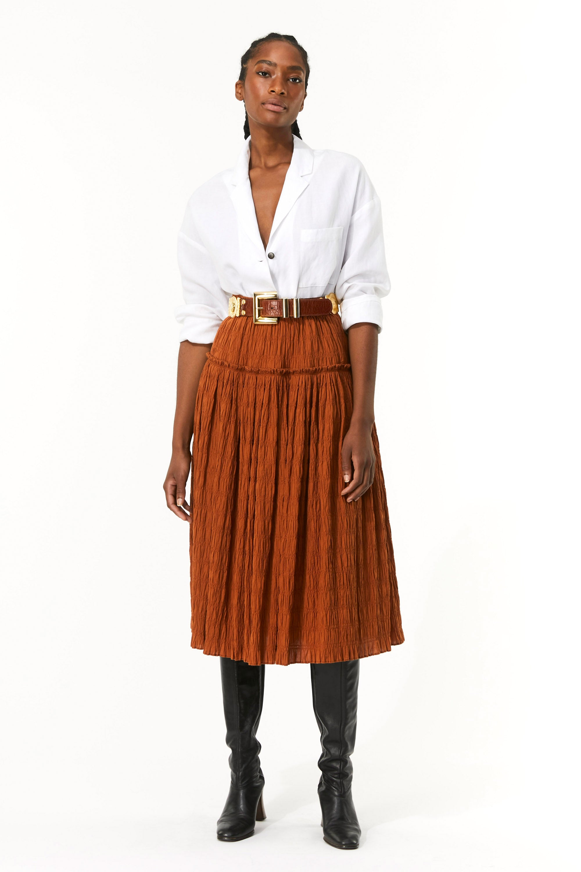 Mara Hoffman Brown Alejandra Skirt in organic cotton (front)
