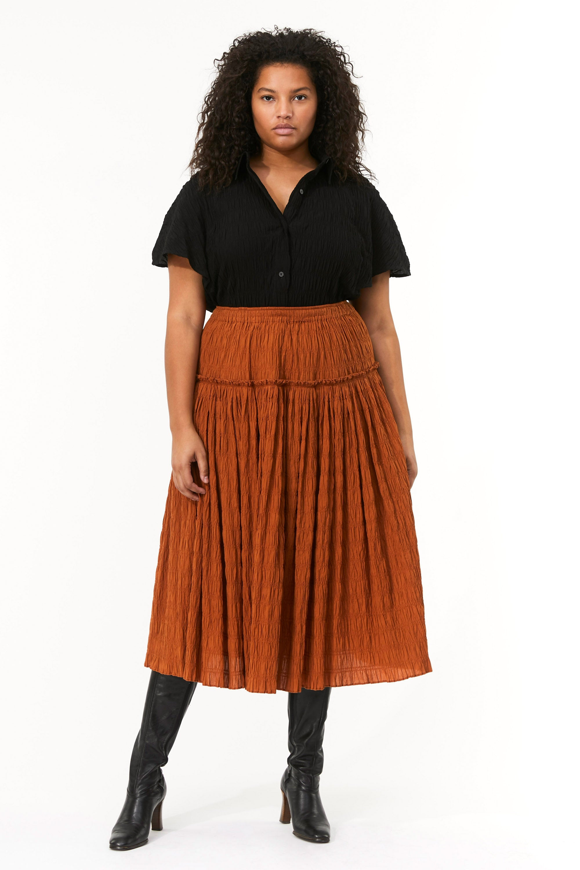 Extended Mara Hoffman Brown Alejandra Skirt in organic cotton (front)