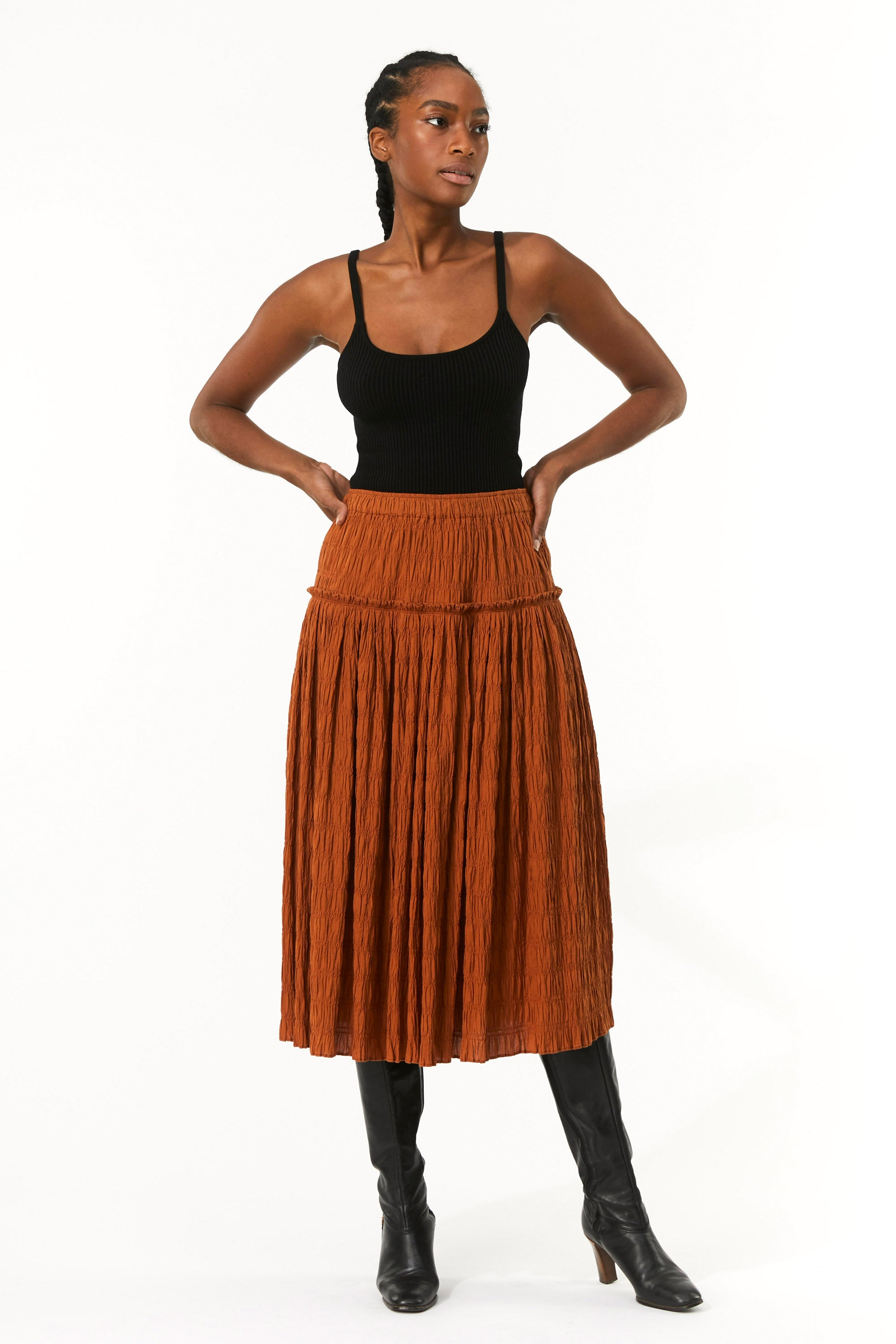 Mara Hoffman Brown Alejandra Skirt in organic cotton (front detail)