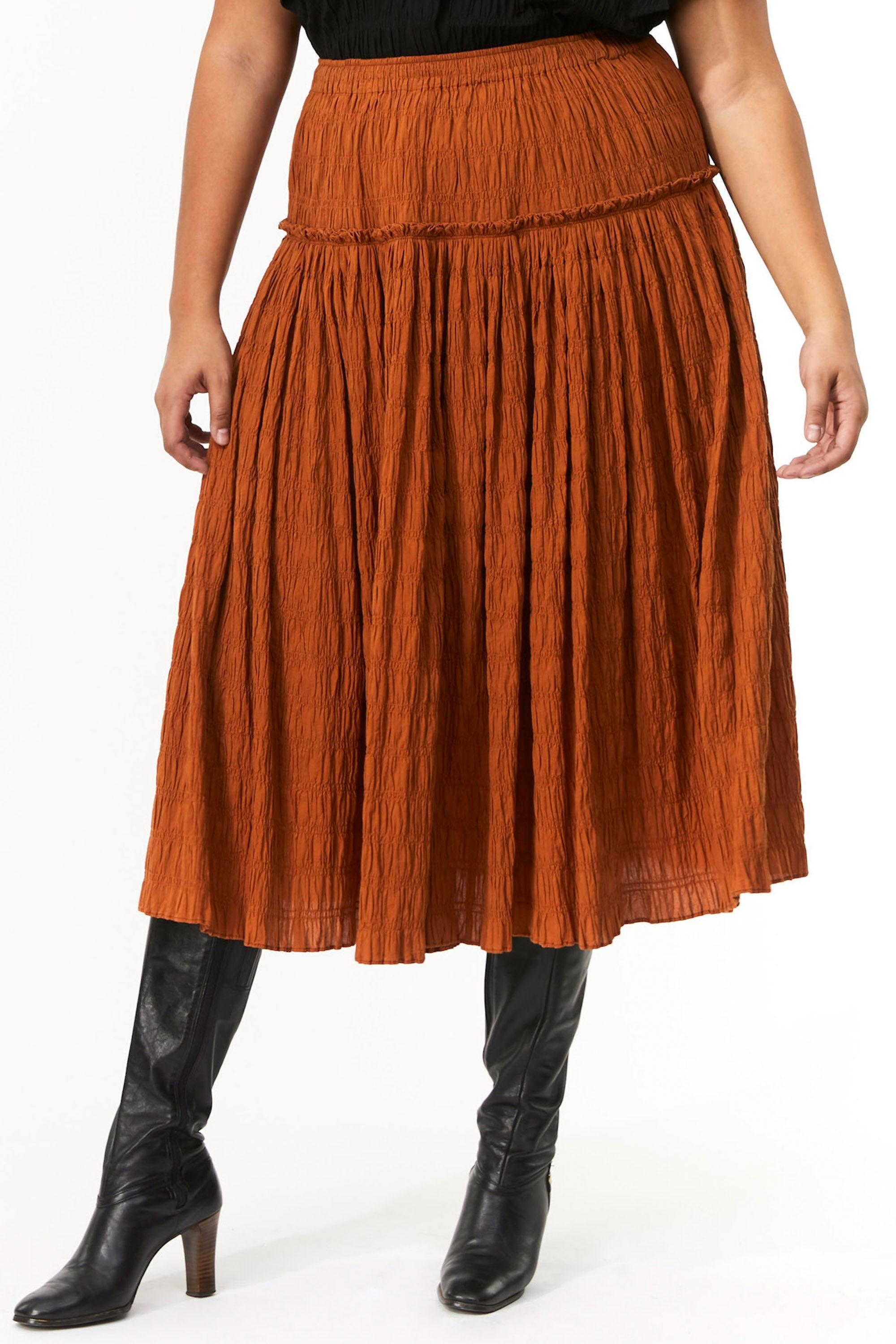 Extended Mara Hoffman Brown Alejandra Skirt in organic cotton (front detail)